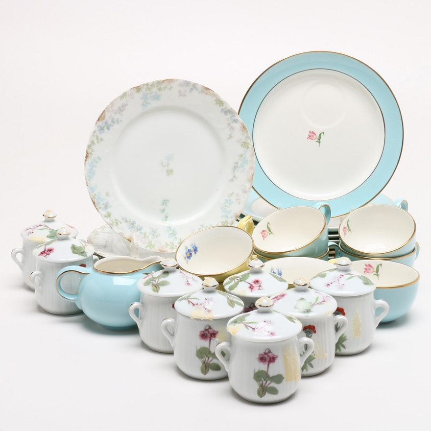 Haviland, Hall and Lourioux Porcelain Serveware, Mid to Late 20th Century