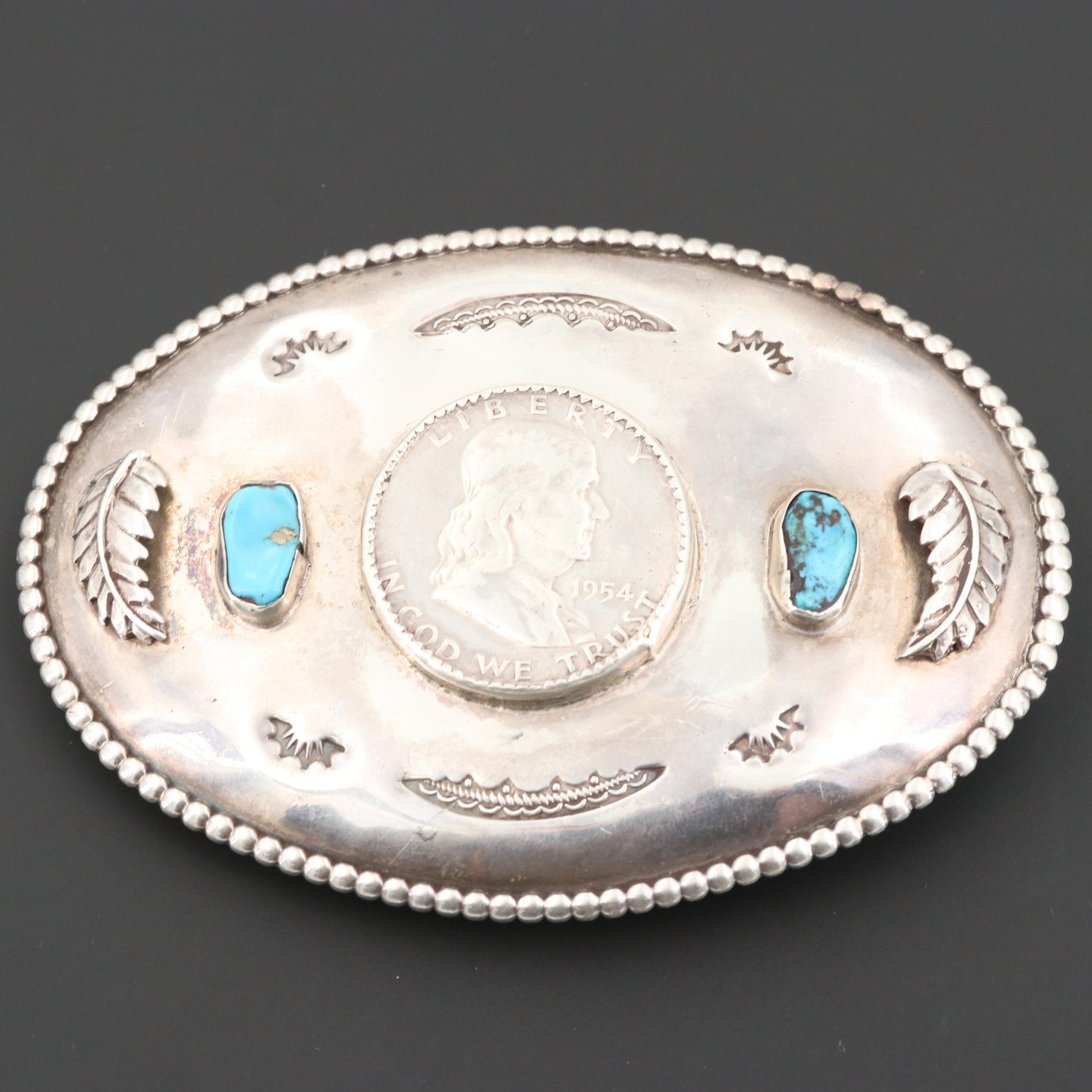 Southwest Sterling Turquoise Belt Buckle with 1954 Franklin Silver Half Dollar