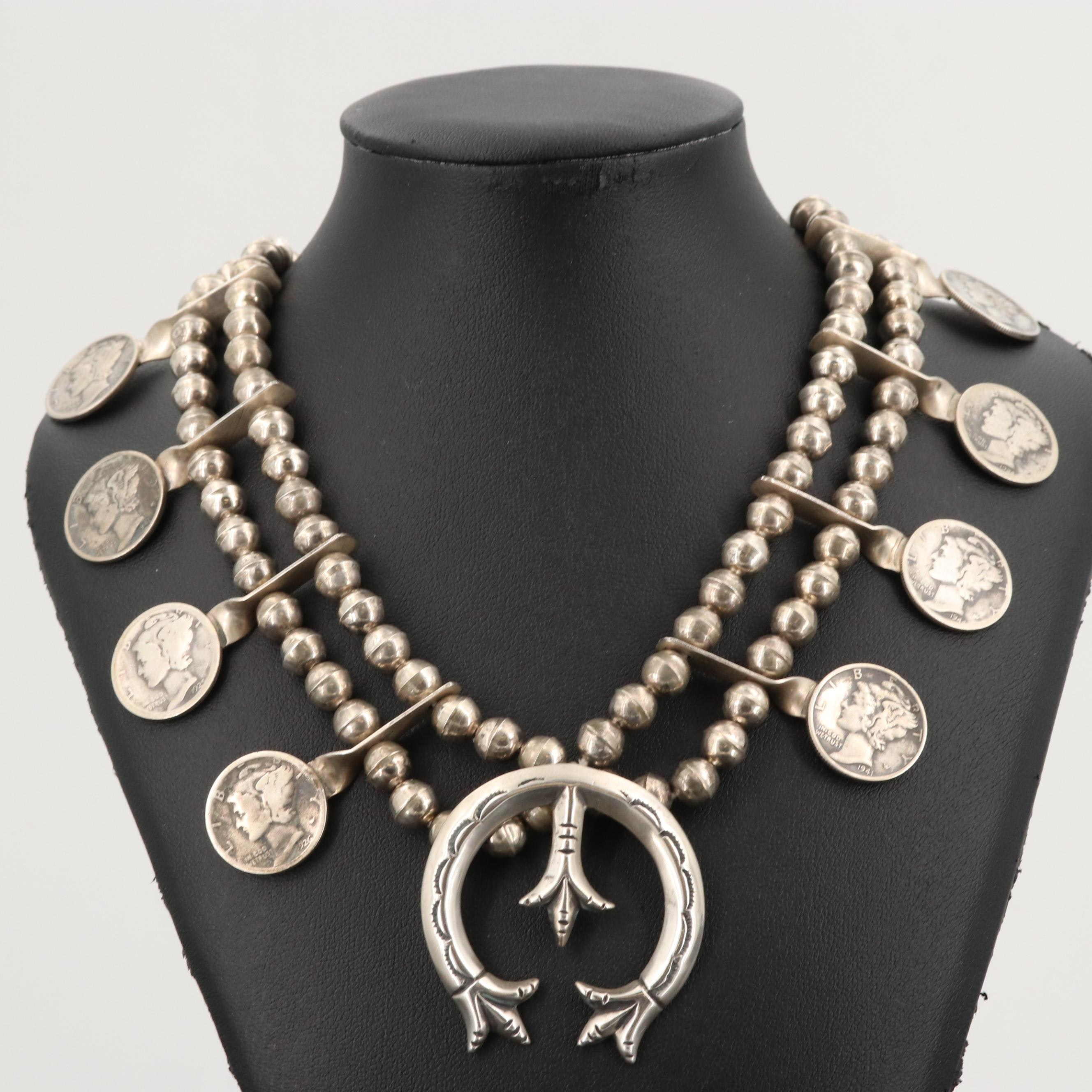 Southwestern Style Sterling Naja Pendant Necklace with Mercury Silver Dollars