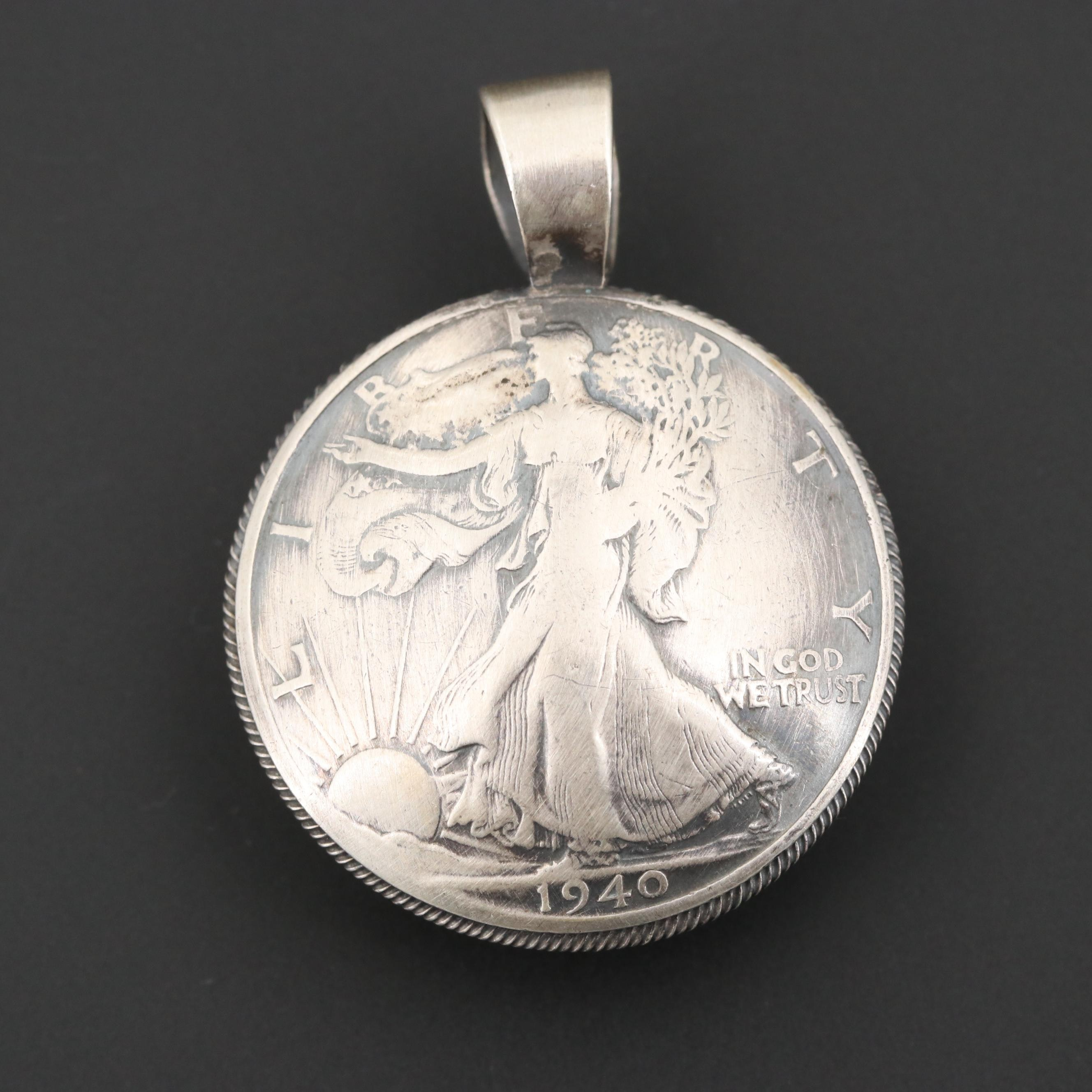 Gary Reeves Navajo Diné Sterling Pendant with 1940 Liberty Silver Half Dollar