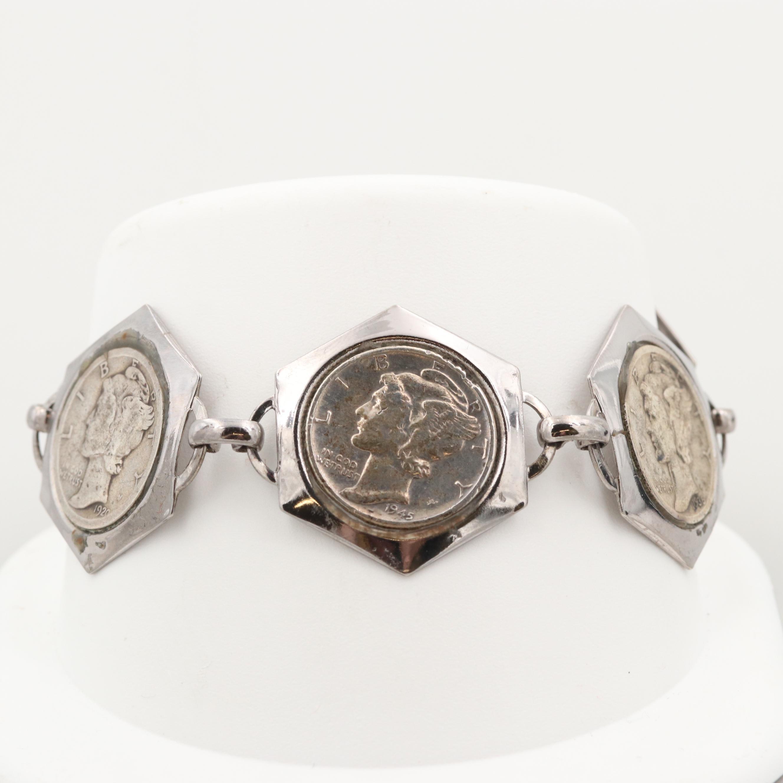 Silver Tone Link Bracelet with Mercury Silver Dimes