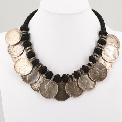 Guatemala Chachal Milagros Necklace with 1898 2 Renles Coins