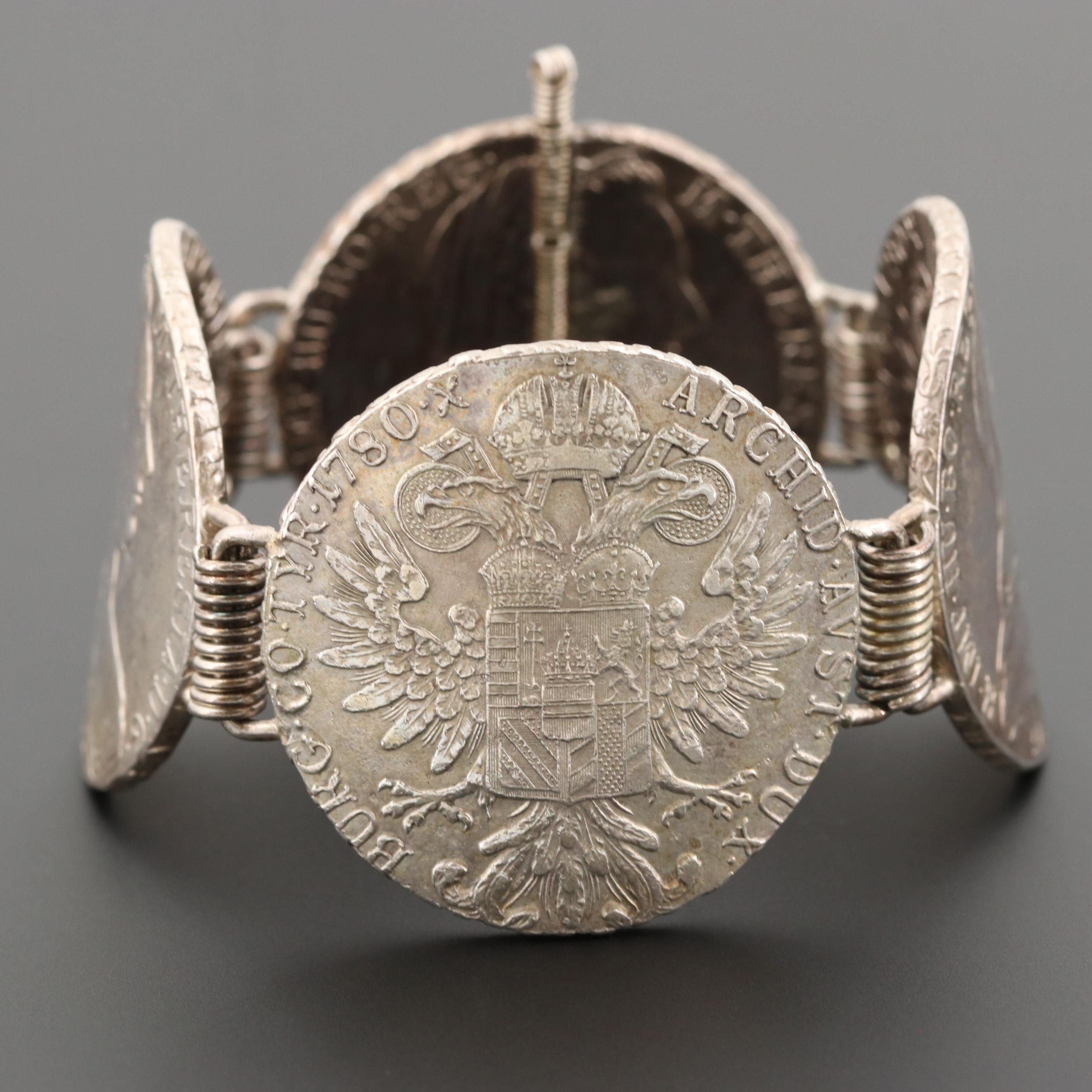 Sterling Bracelet with 1780 Austria Maria Theresia One Thaler Restrike Coins