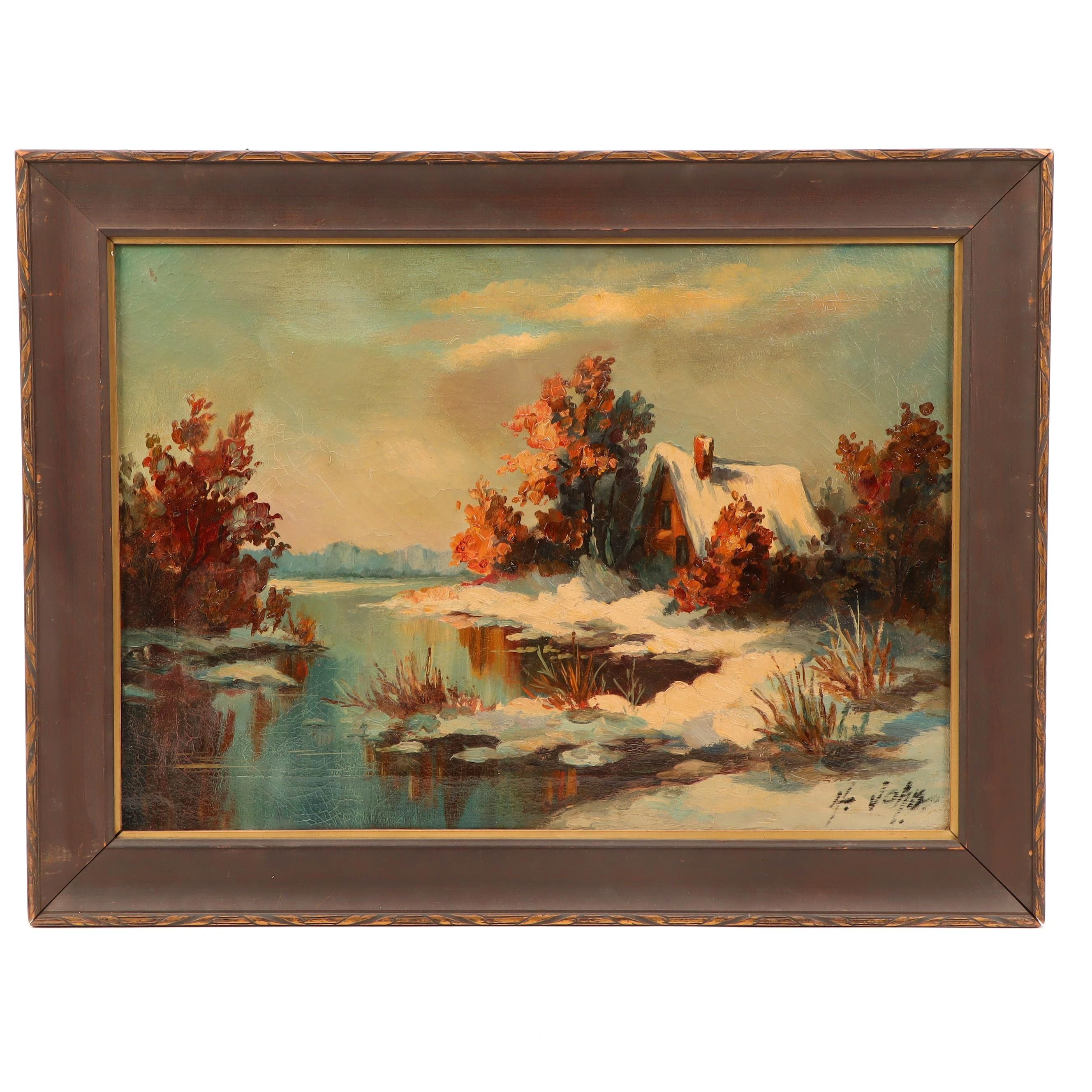 Oil Painting of Cabin in Landscape