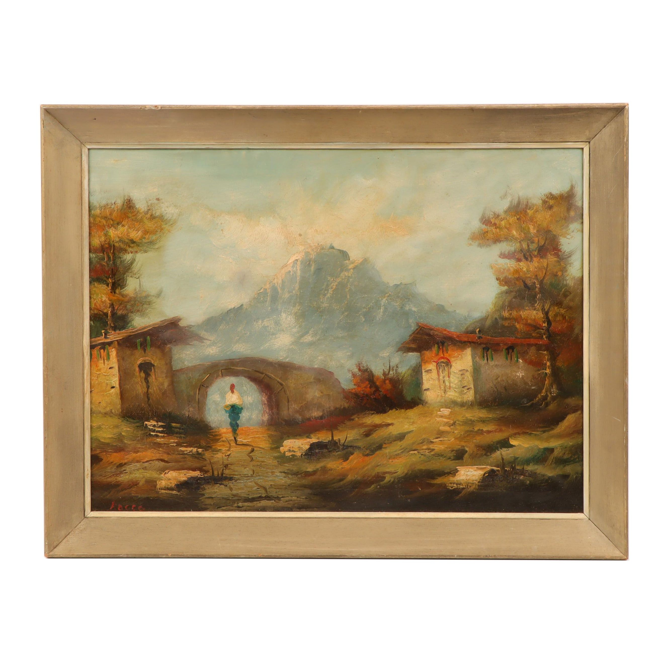 Rocco Oil Painting of Alpine Scene with Figure