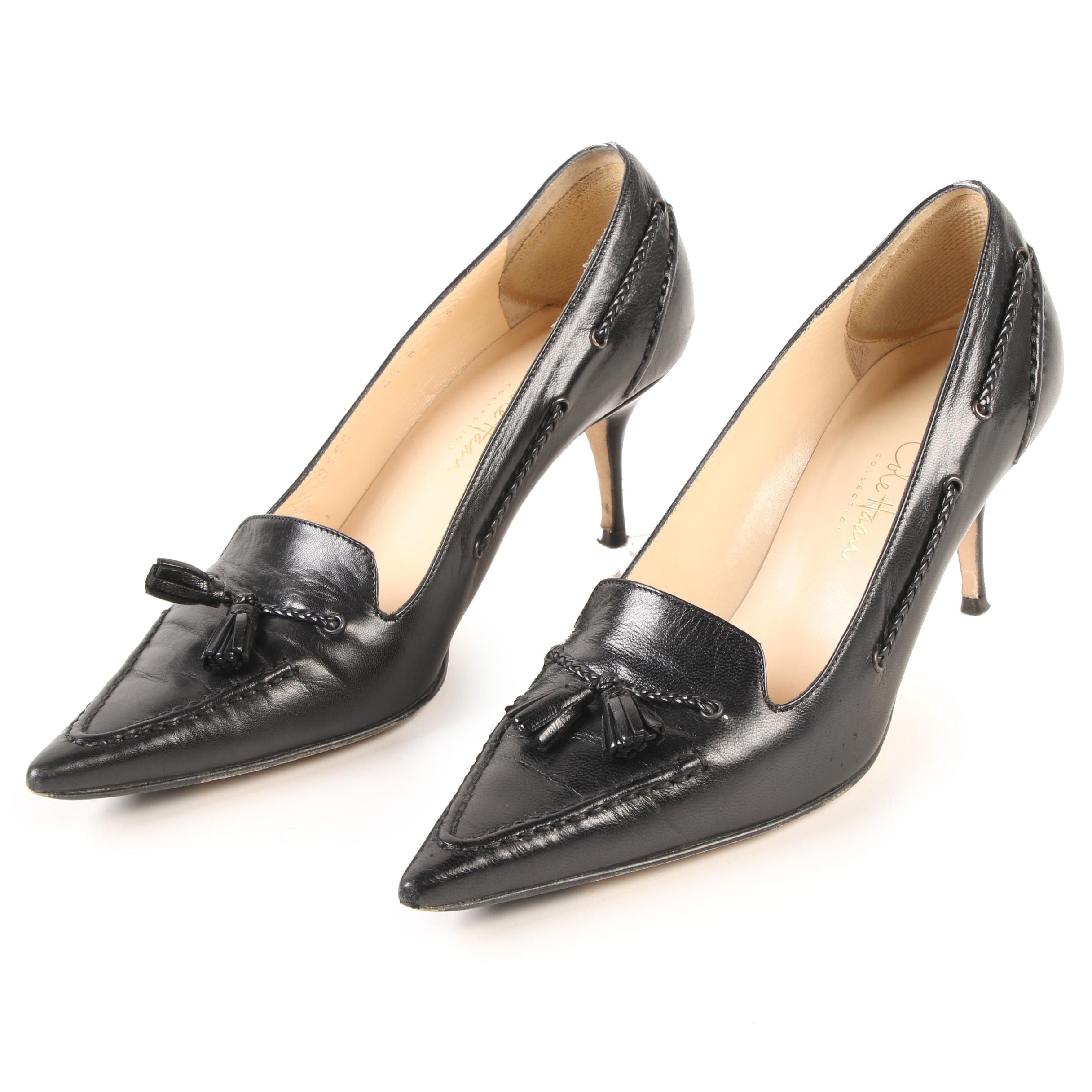 Cole Haan Donata Pump In Black Kidskin Leather with Tassels and Braided Details