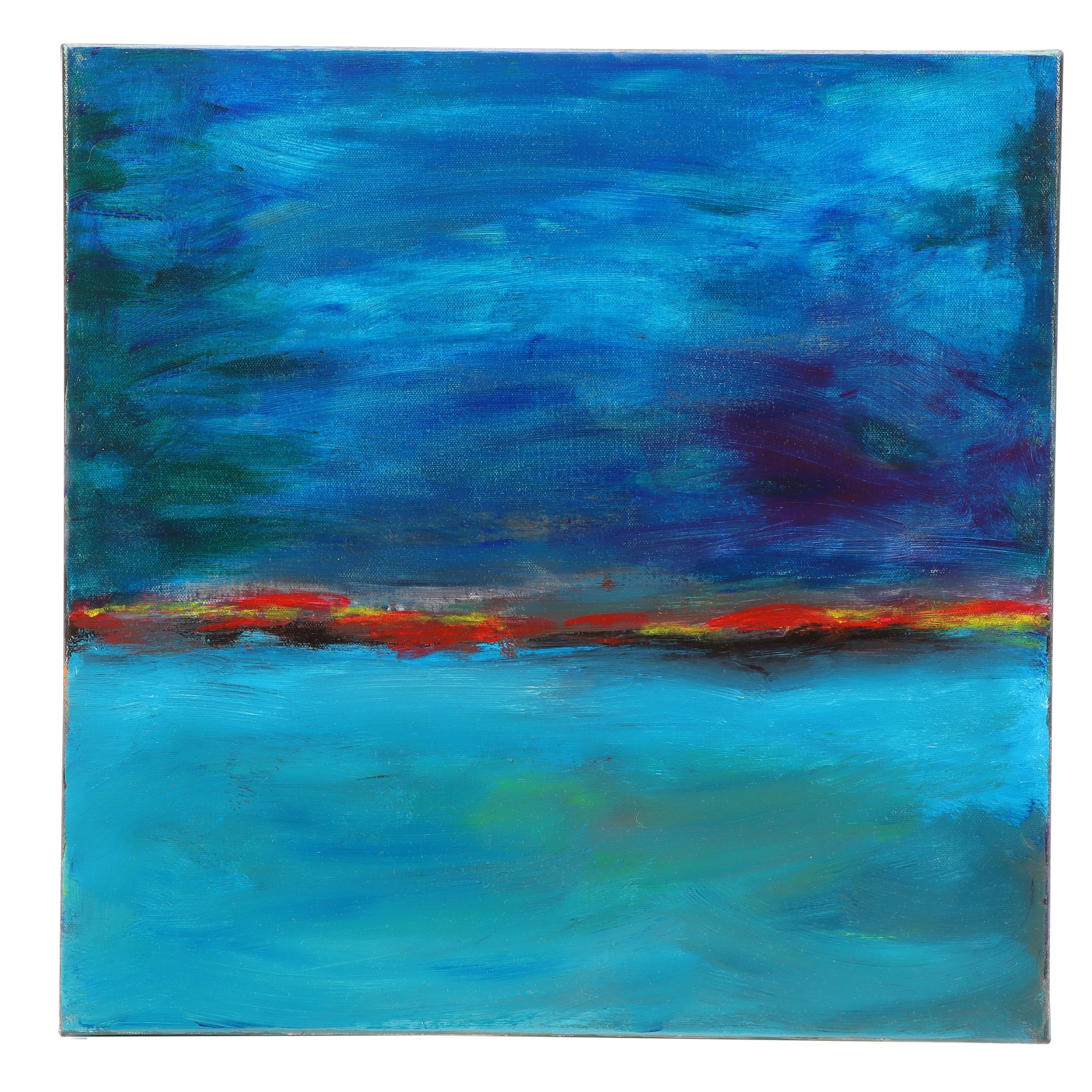 "Neville Shenton Abstract Acrylic Painting ""Ocean Sunrise"""