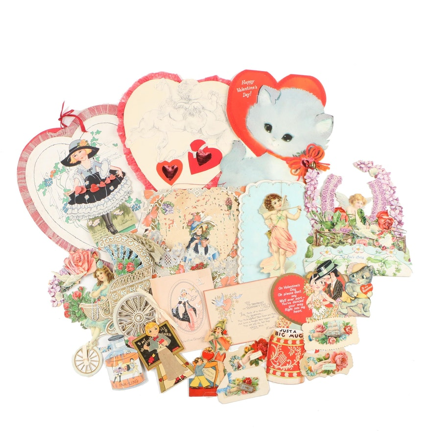 Paper Valentine Cards and Greetings, Early to Mid 20th Century