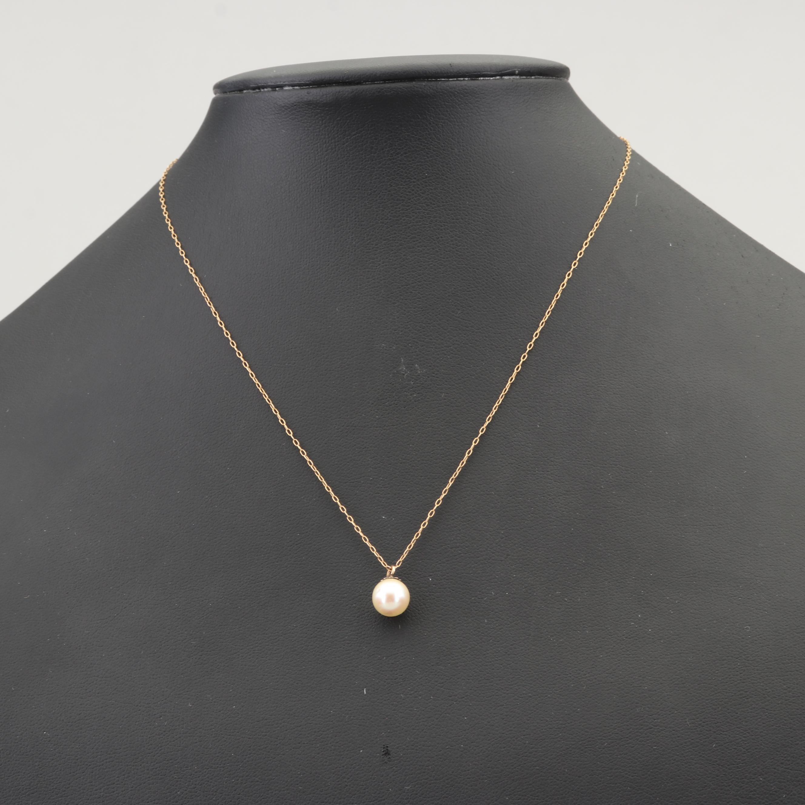 Vintage 14K Yellow Gold Cultured Pearl Necklace