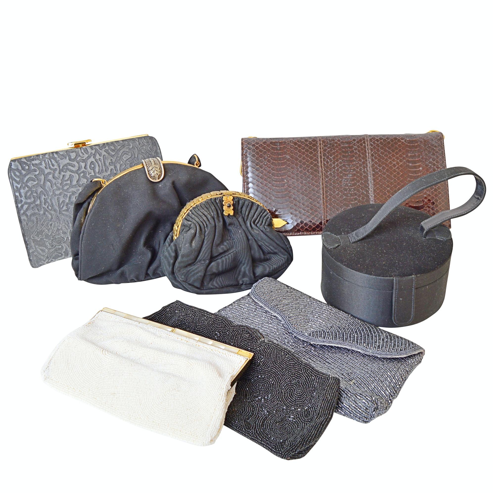 Vintage Beaded, Snakeskin and Fabric Handbags