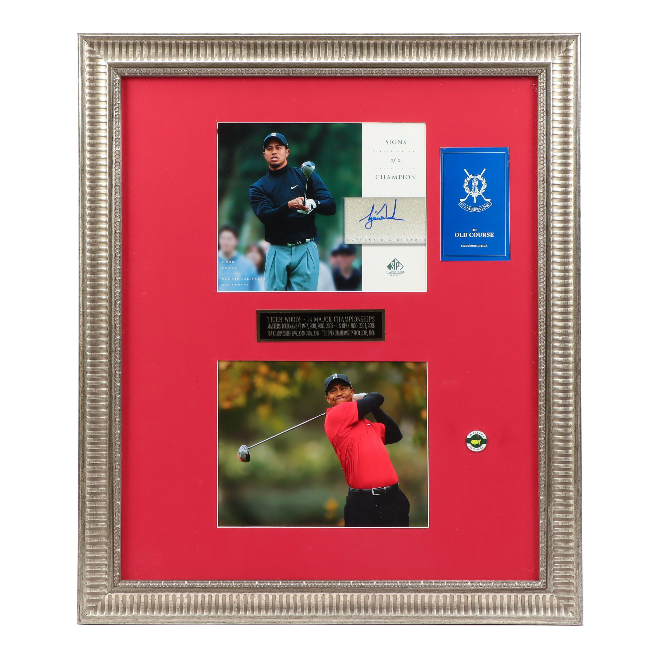 PGA Golfer Tiger Woods Signed Upper Deck Card Framed Display, Contemporary