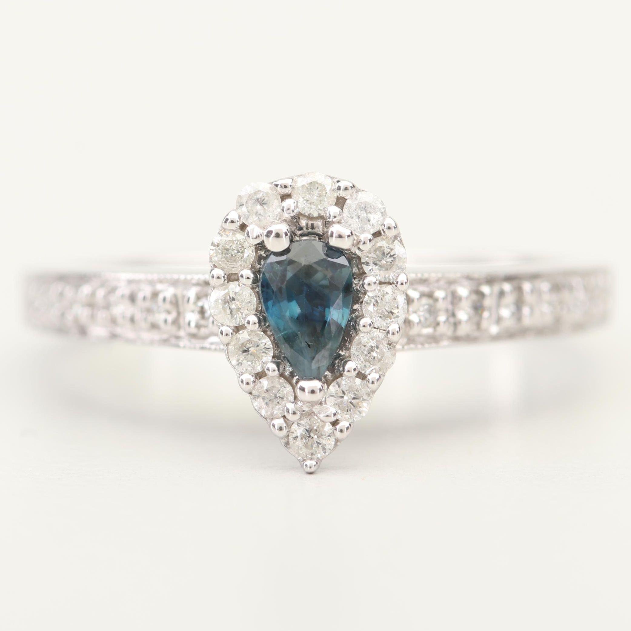 Keepsake 14K White Gold Sapphire and Diamond Ring