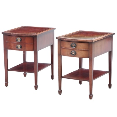 Leather-Top Mahogany End Tables, Mid-Century