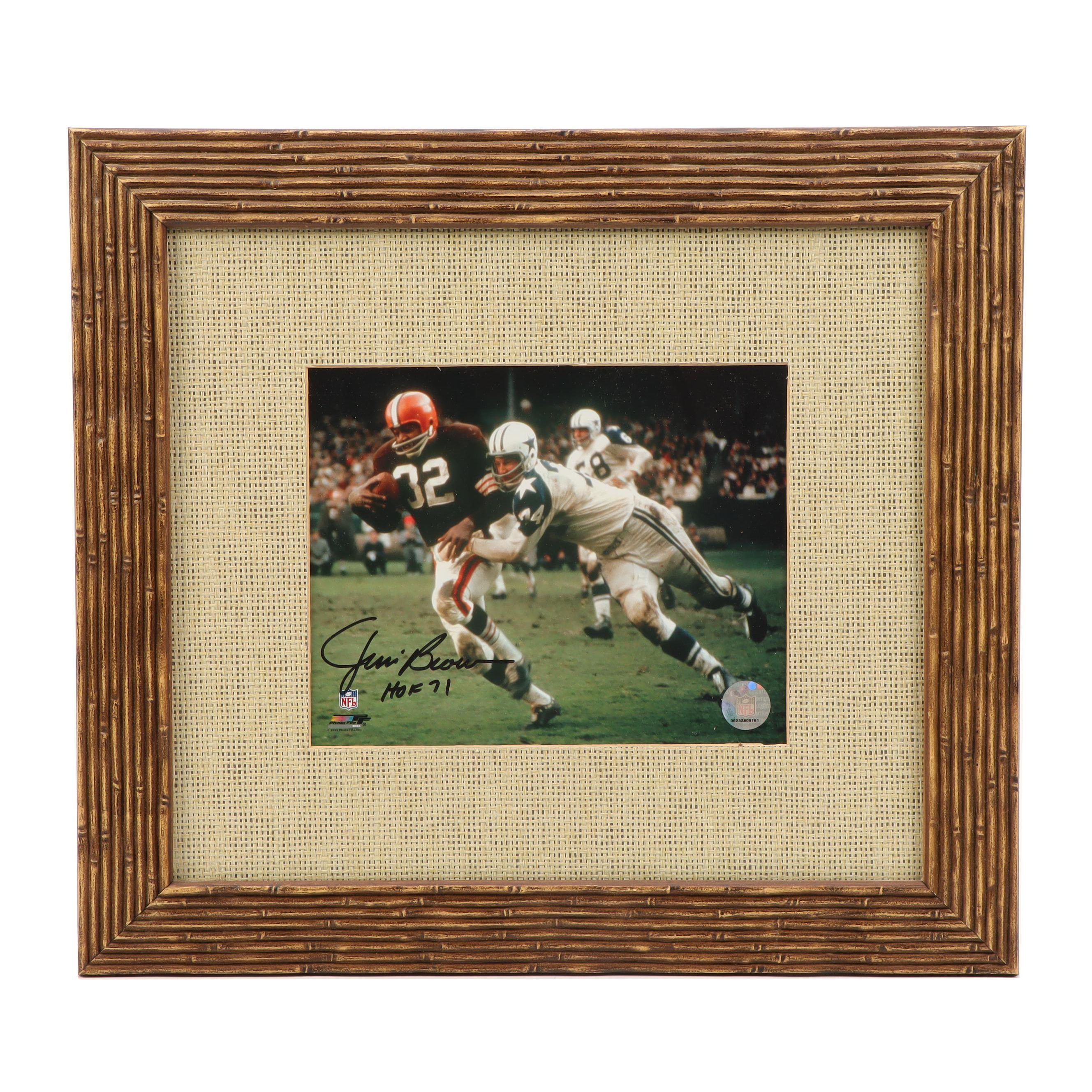 Framed Jim Brown Cleveland Browns Action Photo   COA