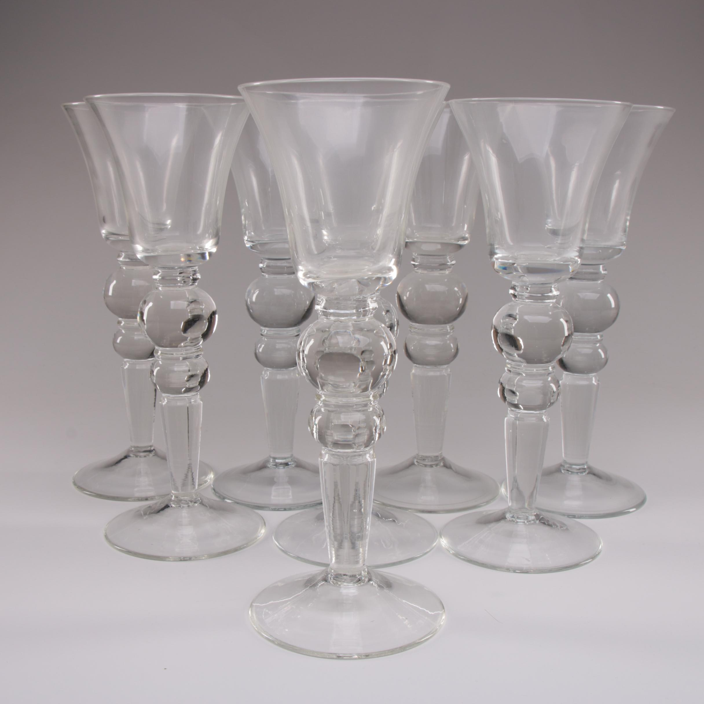 Contemporary Blown Glass Wine Glasses with Baluster Stems