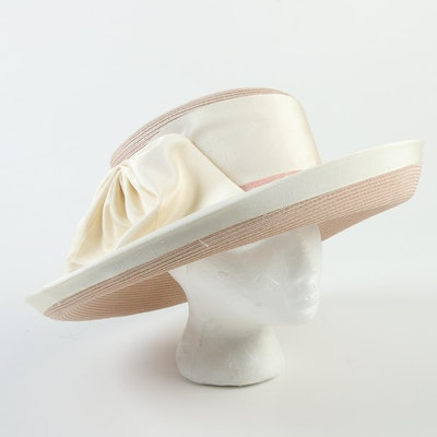 59fda2195 Frank Olive for Saks Fifth Avenue Wide Brim Ivory Hat with White ...