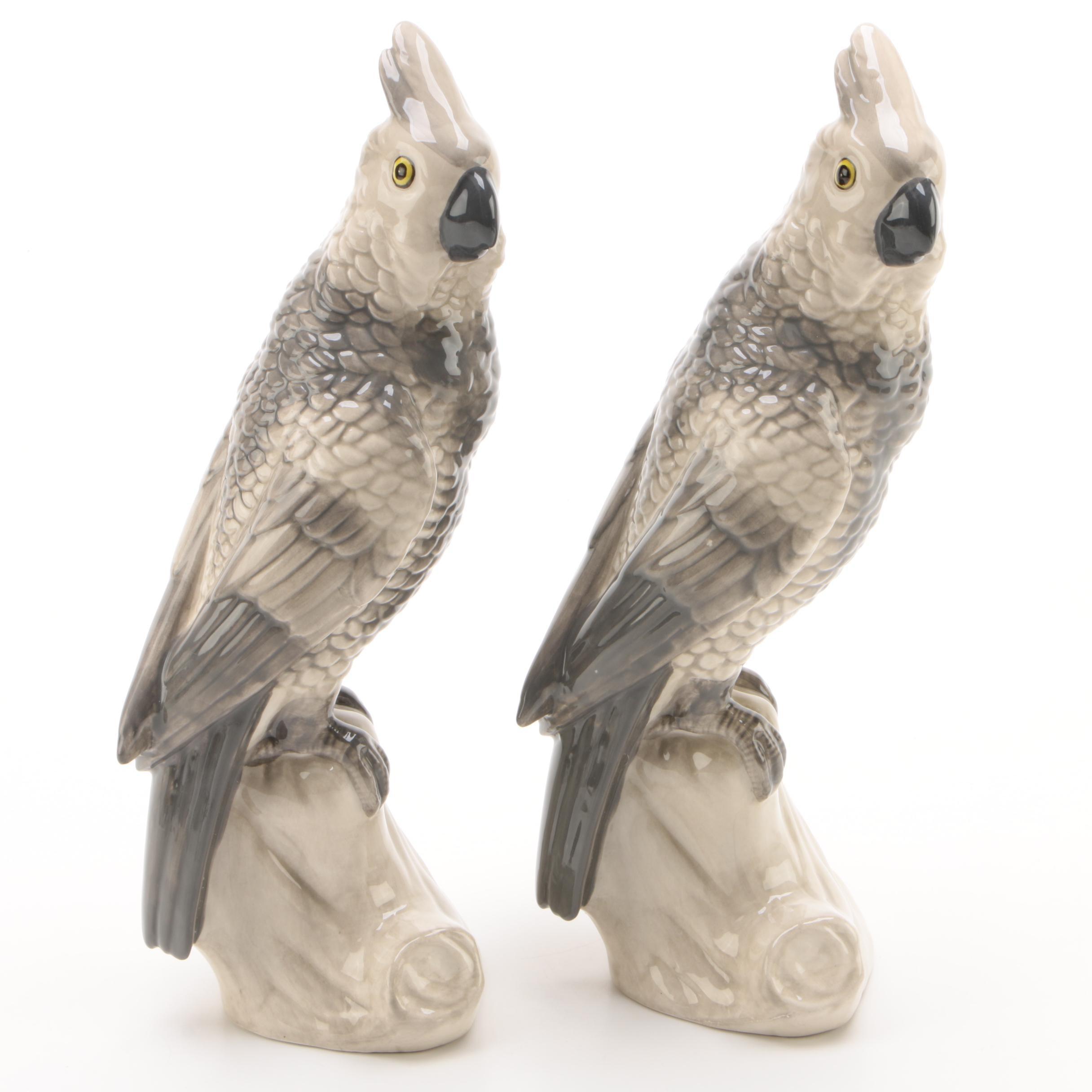 Pair of Ceramic Cockatoos