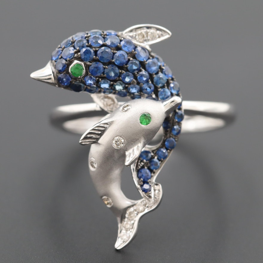 14K White Gold Blue Sapphire, Diamond and Chrome Diopside Dolphin Ring