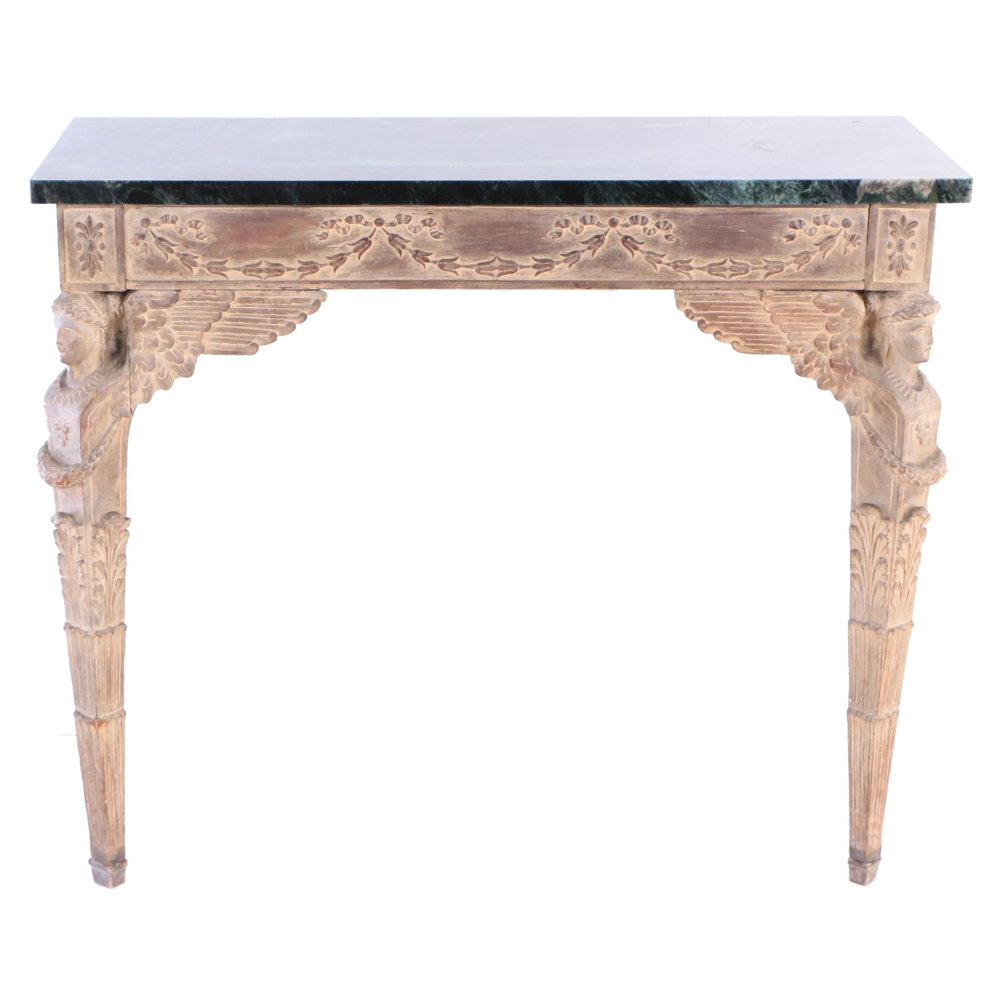 Empire Style Cream-Painted and Green Marble Wall Console, 20th Century