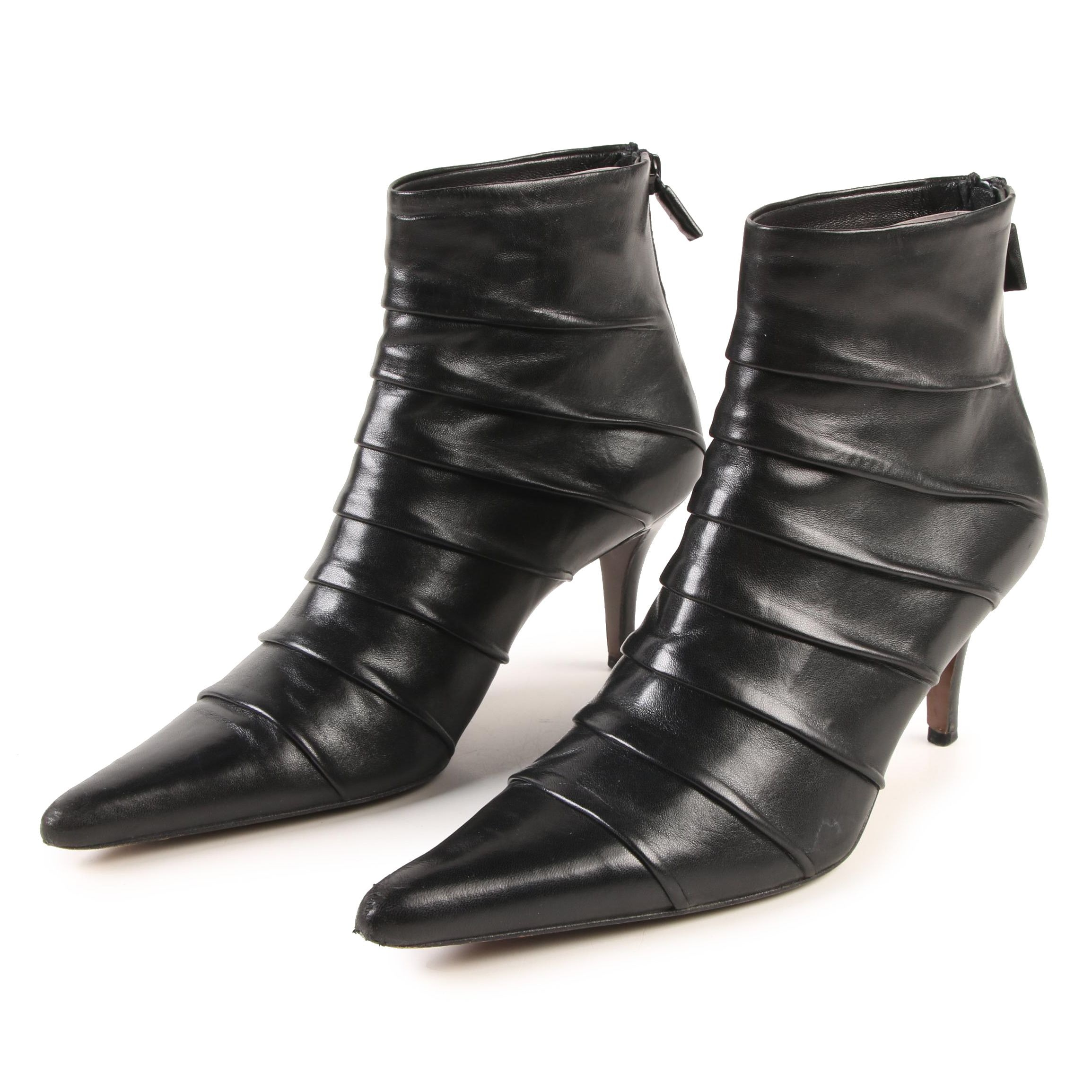 Walter Steiger Pointed Toe Ankle Boots in Black Pleated Nappa Leather