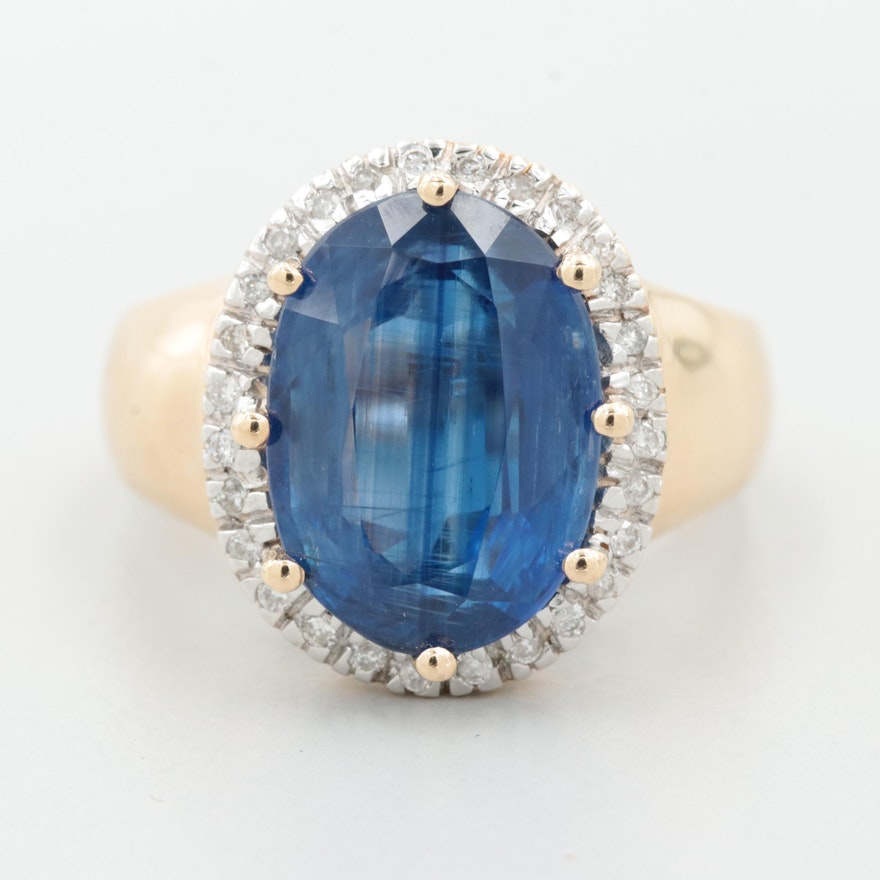 14K Yellow Gold 7.01 CT Kyanite and Diamond Ring