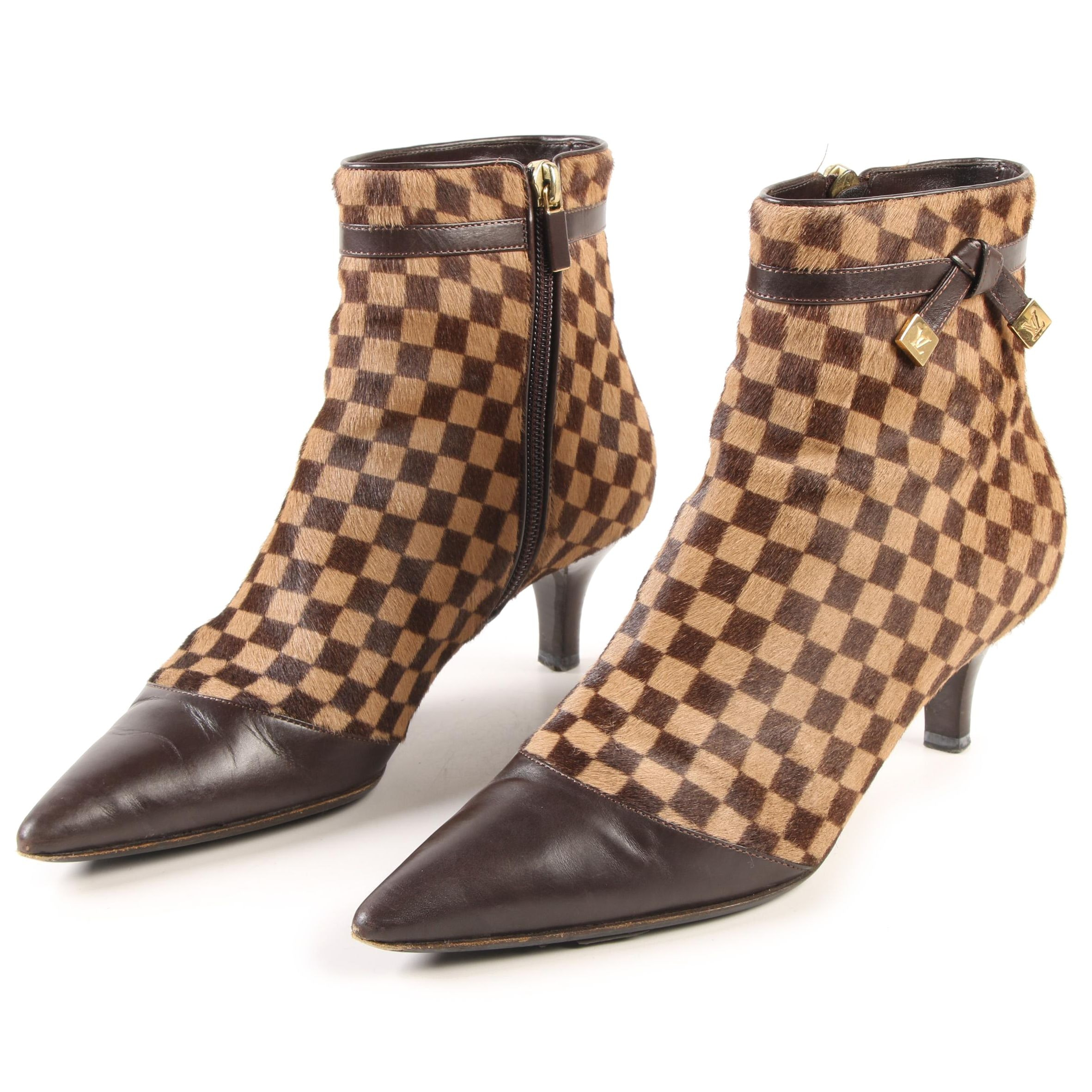 Louis Vuitton Paris Damier Sauvage Calf Hair Ankle Boots