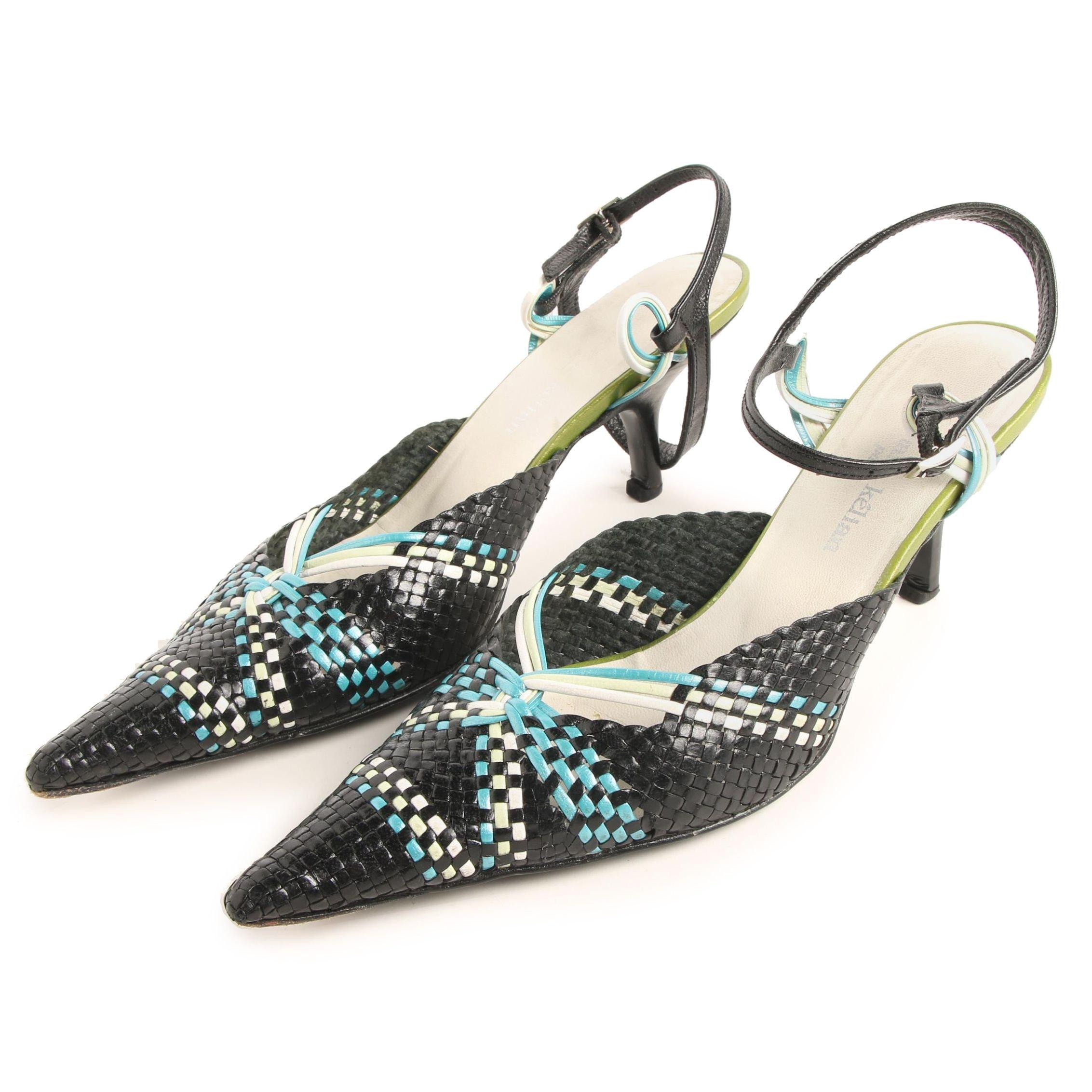 Stephane Kélian Paris Woven Leather Pointed Toe Ankle Strap Heels