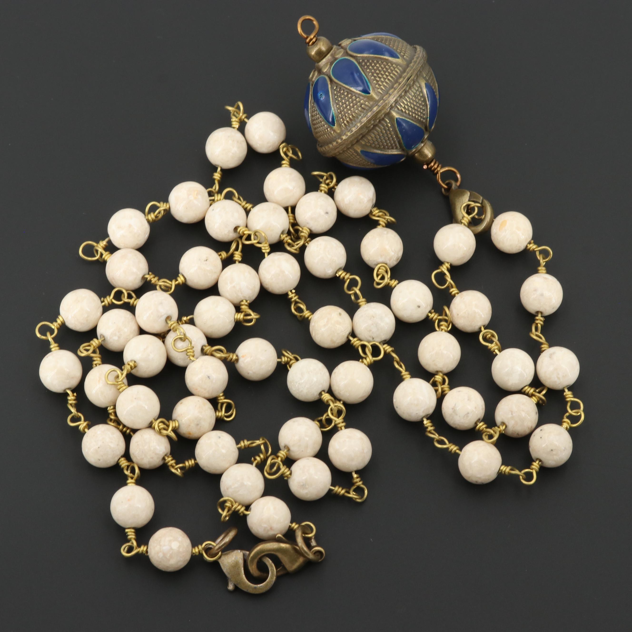 Gold Tone Feldspar and Enamel Beaded Necklace with Detachable Pendant