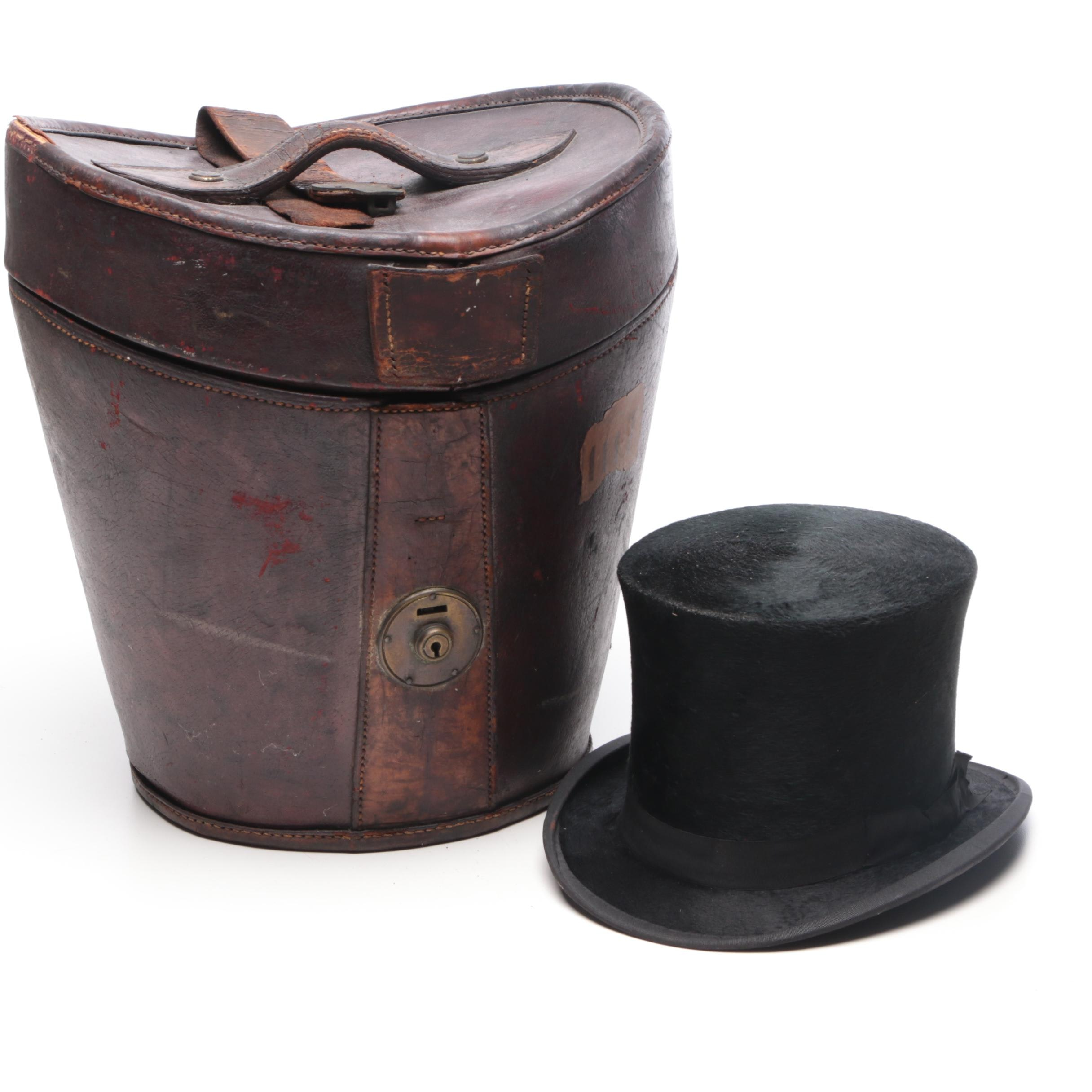 Best London Beaver Felt Top Hat with Leather Box, Circa 1910