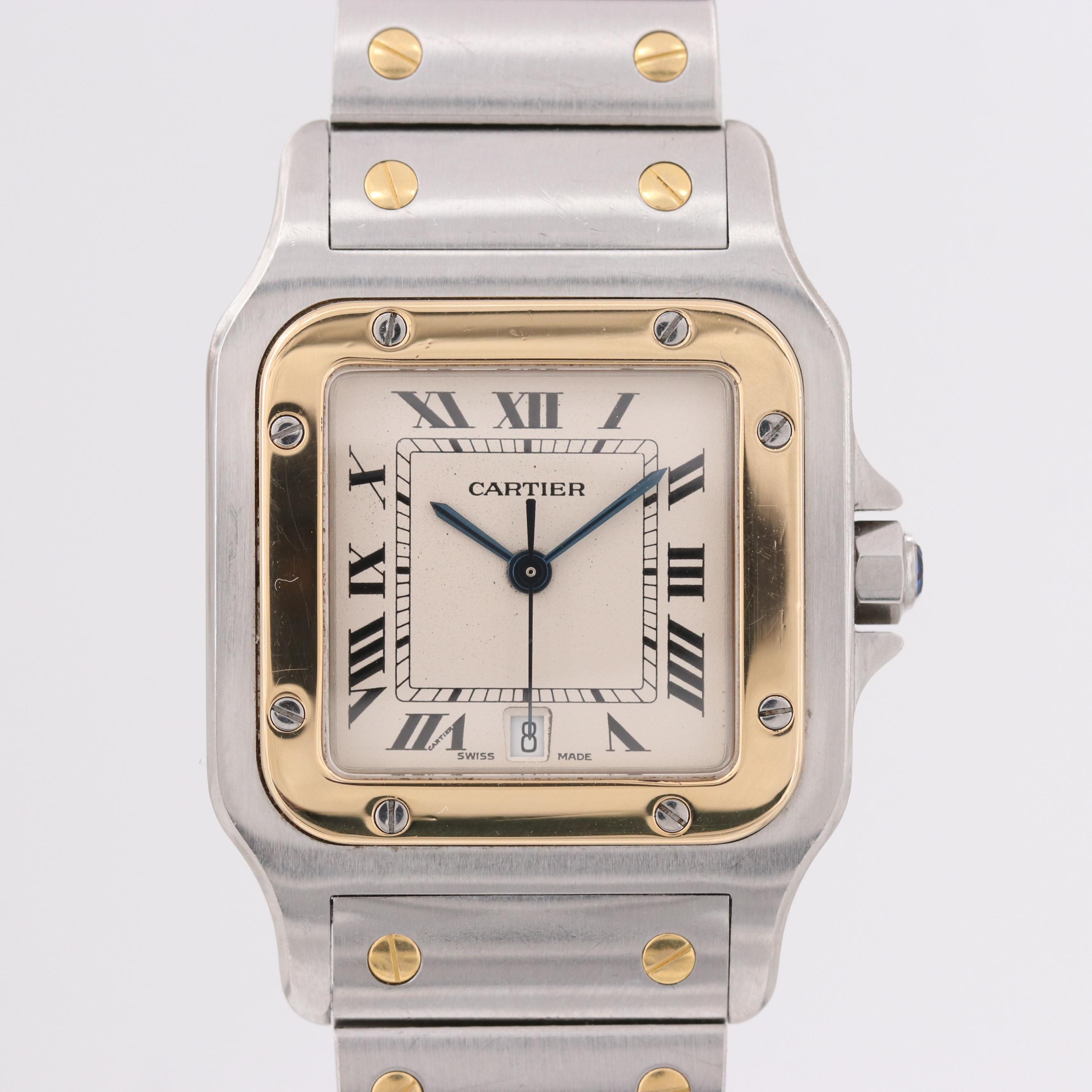 Cartier Santos Galbée 18K Yellow Gold and Stainless Steel Wristwatch