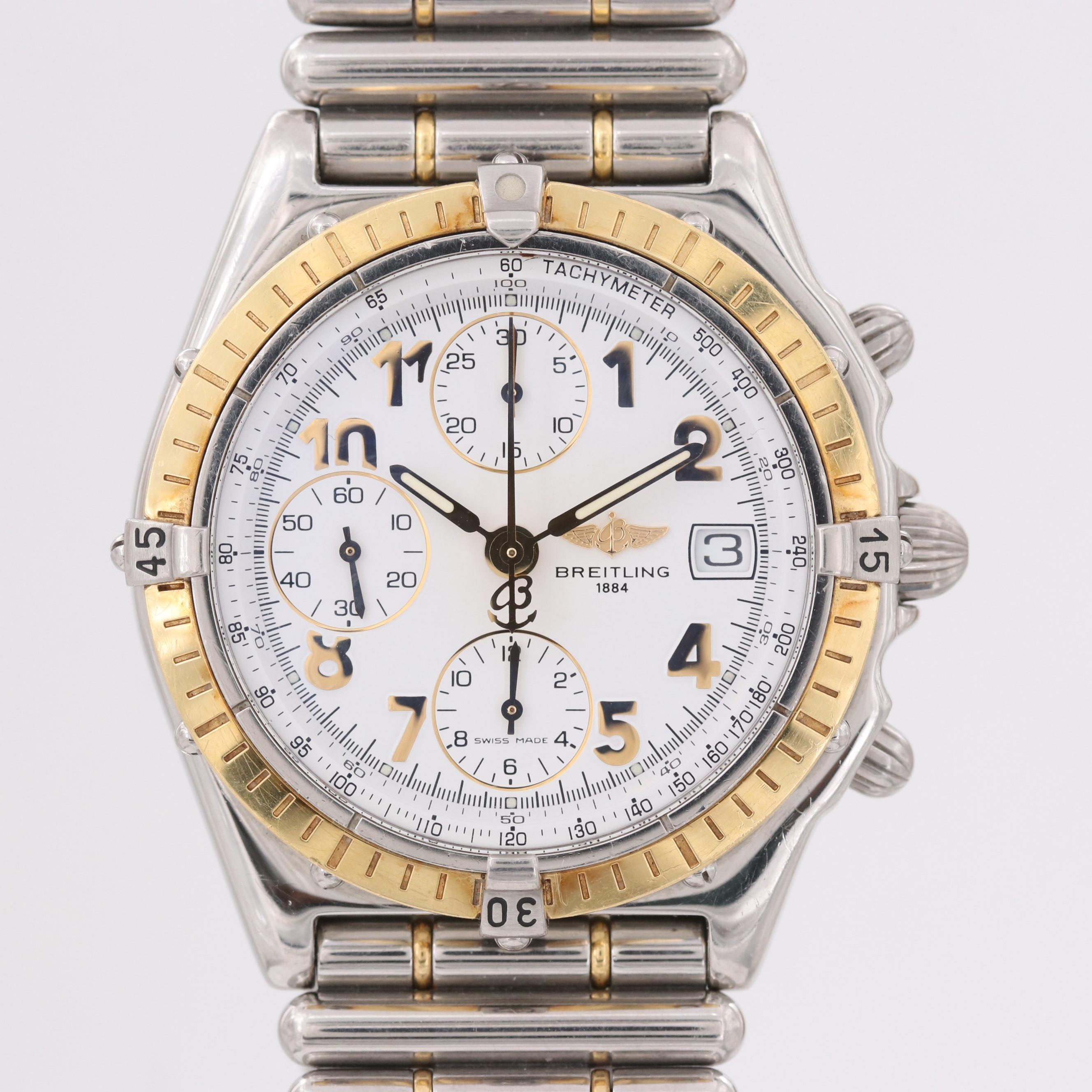 Vintage Breitling Chronomat Steel and 18K Gold Automatic Chronograph Wristwatch