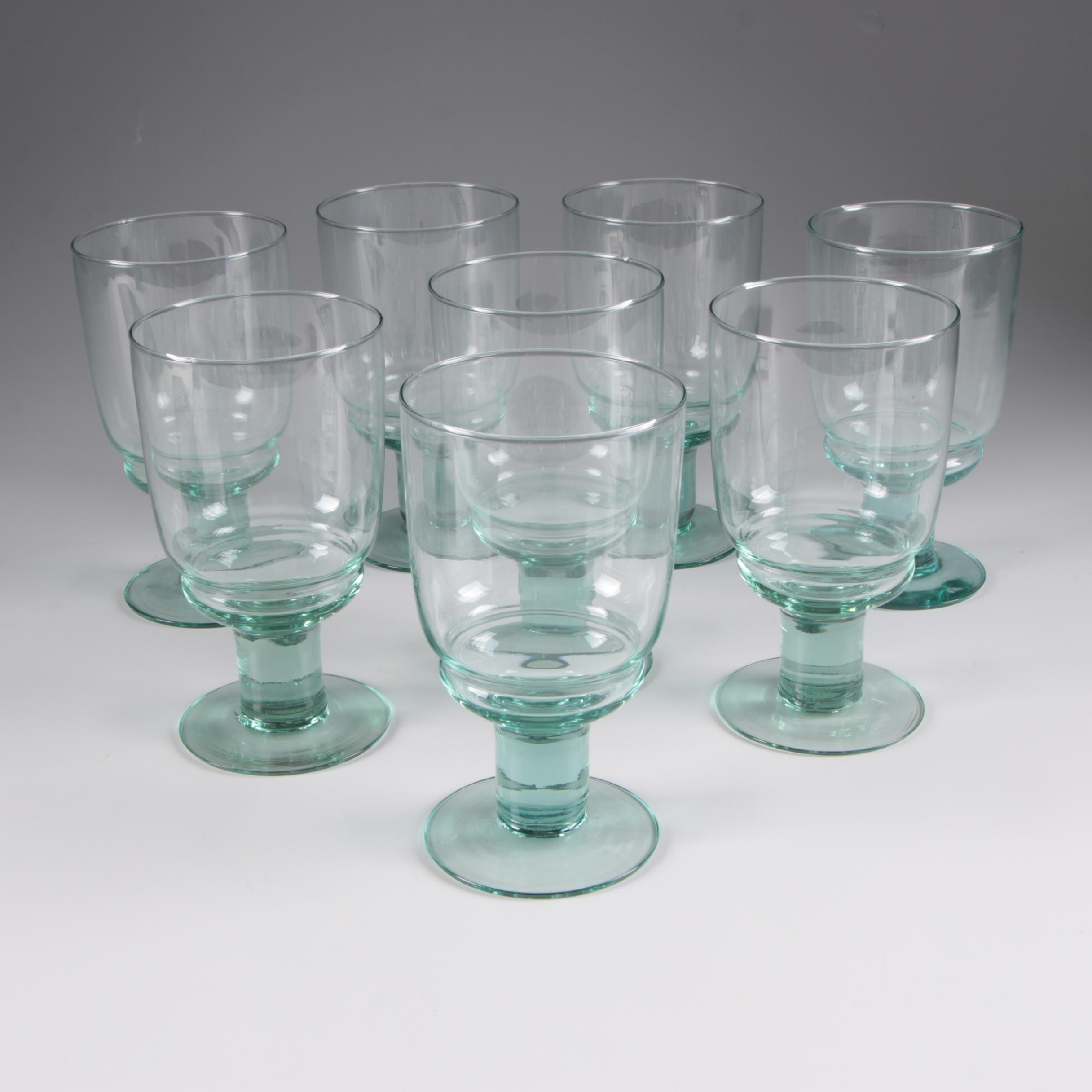 Contemporary Blown Glass Water Goblets