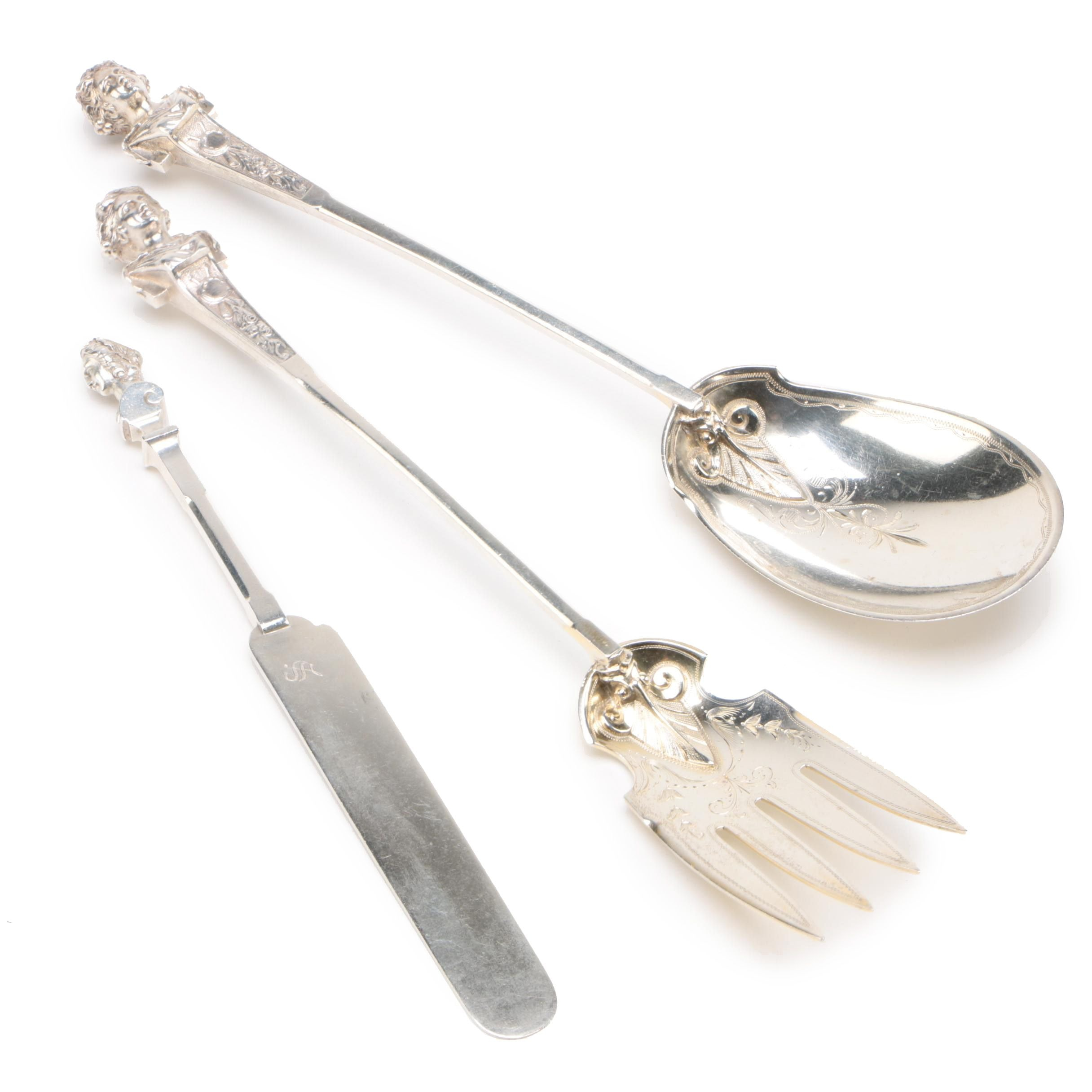 "Gorham ""Bust"" Coin Silver Serving Utensils, Late 19th Century"