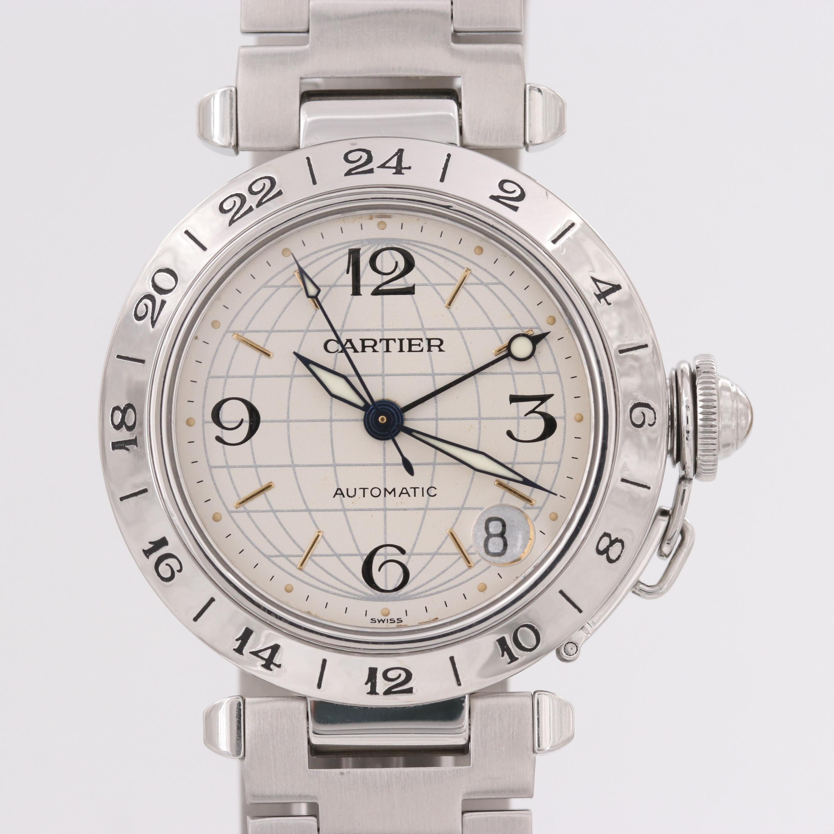 Cartier Pasha C GMT Stainless Steel Automatic Wristwatch