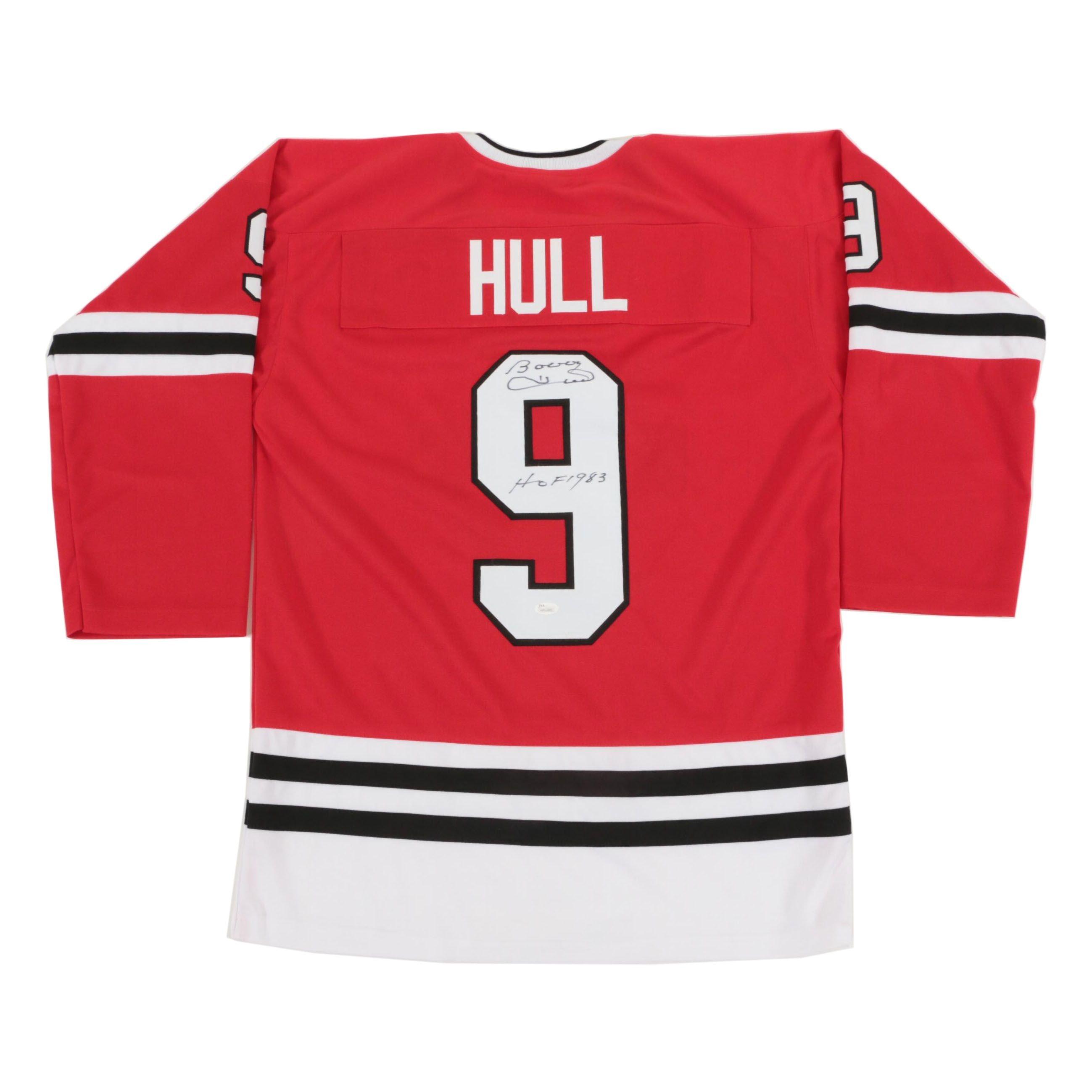 "Bobby Hull Signed Speciality Black Hawks Style Jersey ""The Golden Jet"""