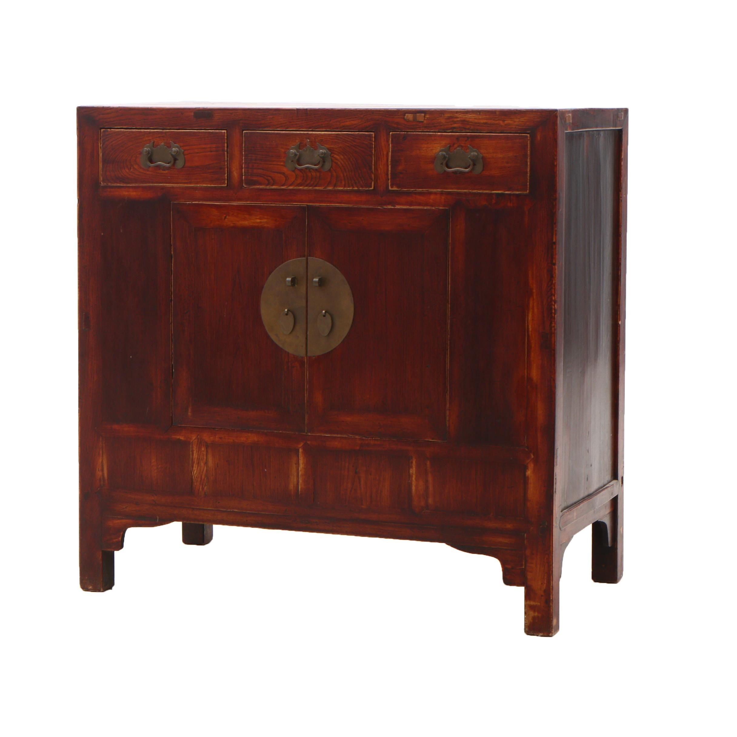 Chinese Elm Cabinet in Red Wash Finish, Contemporary