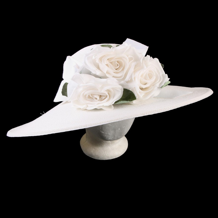 895157d15 Frank Olive for Saks Fifth Avenue Wide Brim Ivory Hat with White Florals  and Bow