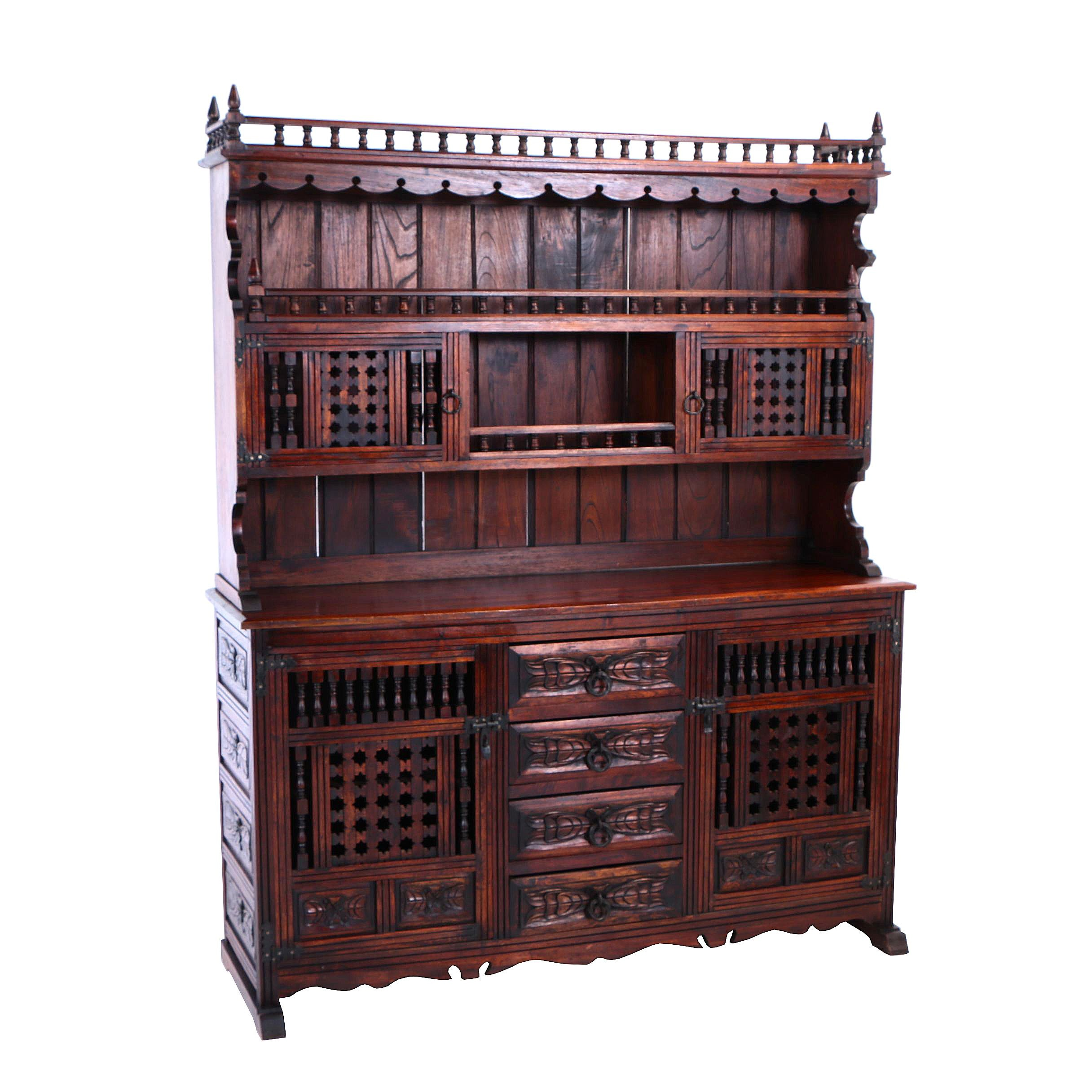 French Provincial Style Carved Walnut Buffet à Deux Corps, 20th Century