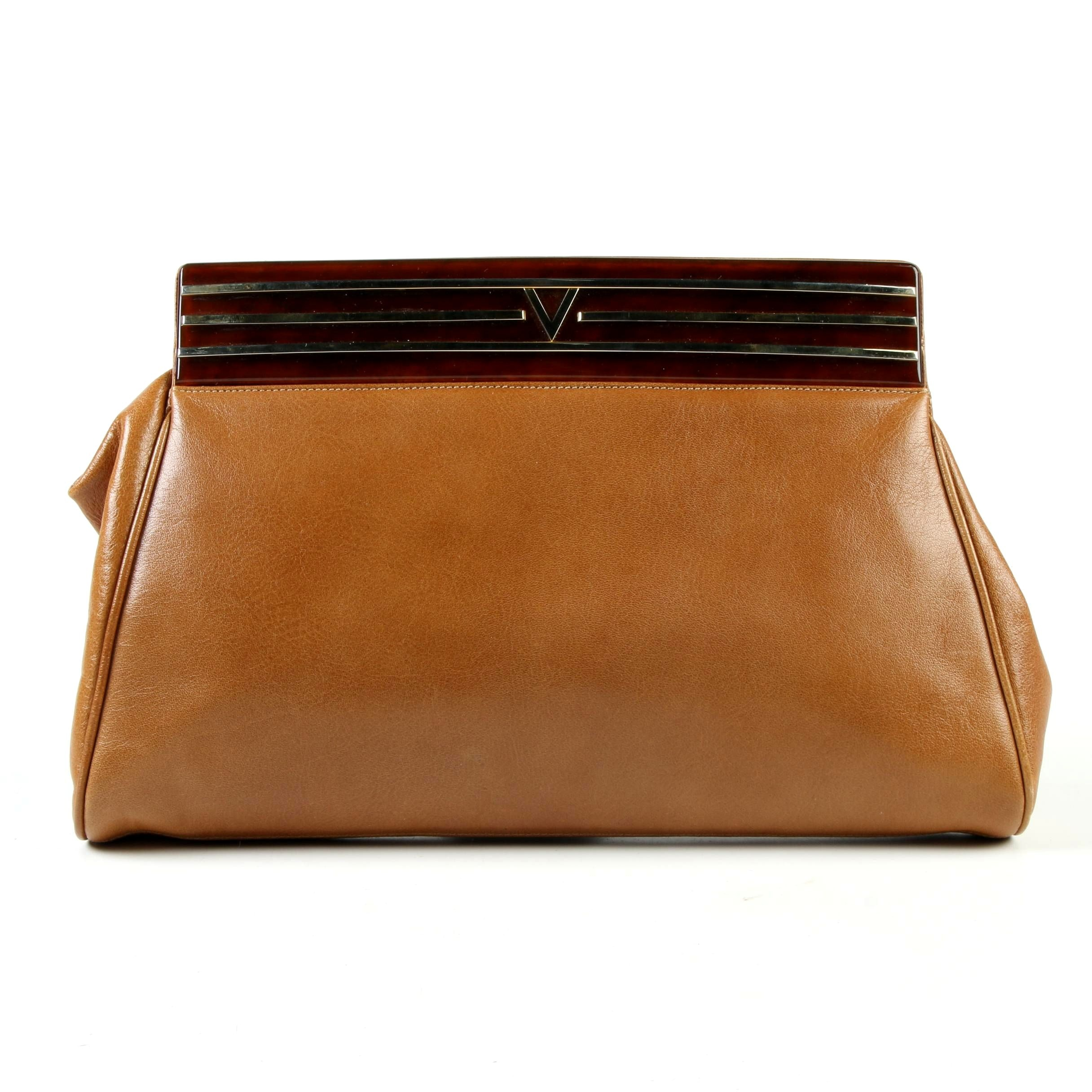 Mario Valentino Tan Leather Clutch with Faux Tortoise Frame Accent, Vintage