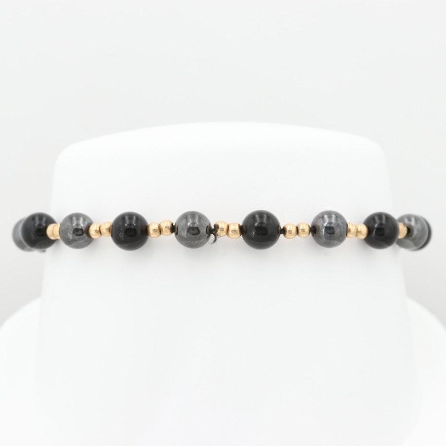 43bbf92a836ba4 14K Yellow Gold Black Onyx and Synthetic Hematite Beaded Bracelet   EBTH