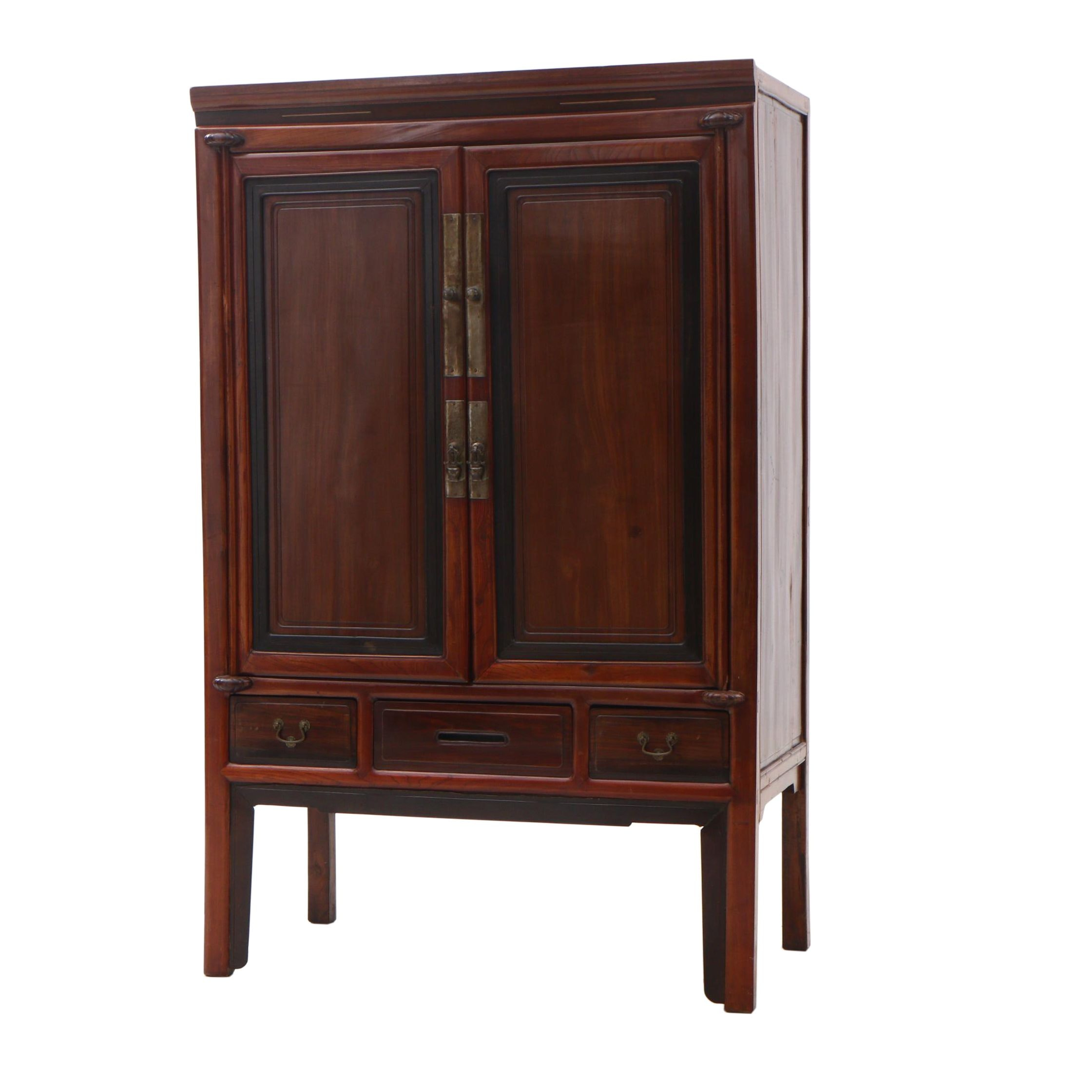 Chinese Elm and Pine Cabinet in Red Wash Finish, Contemporary