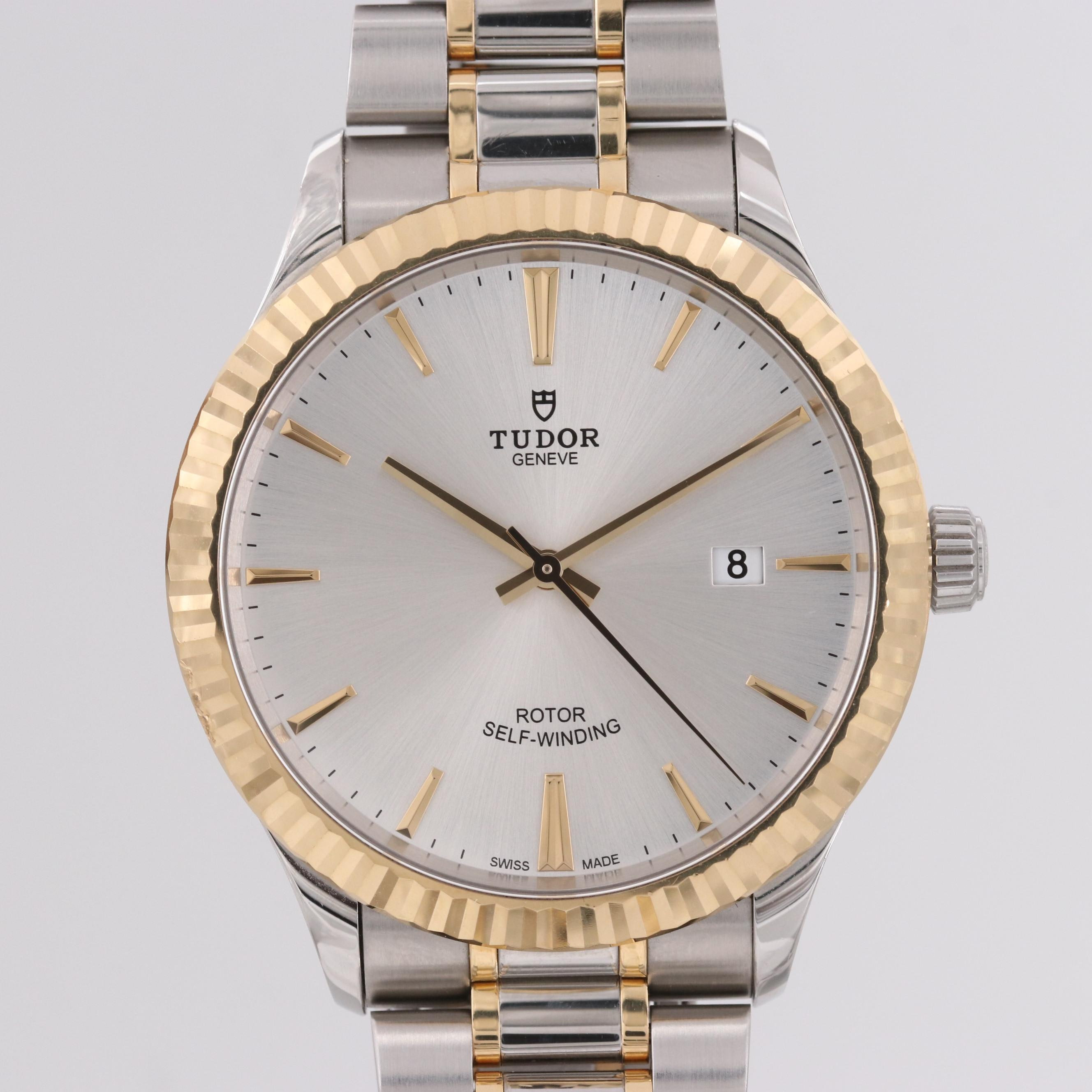 Tudor Style Stainless Steel and 18K Gold Automatic Wristwatch