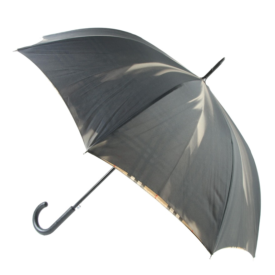 "Burberry London Walking Umbrella with ""Haymarket Check"" Lining"