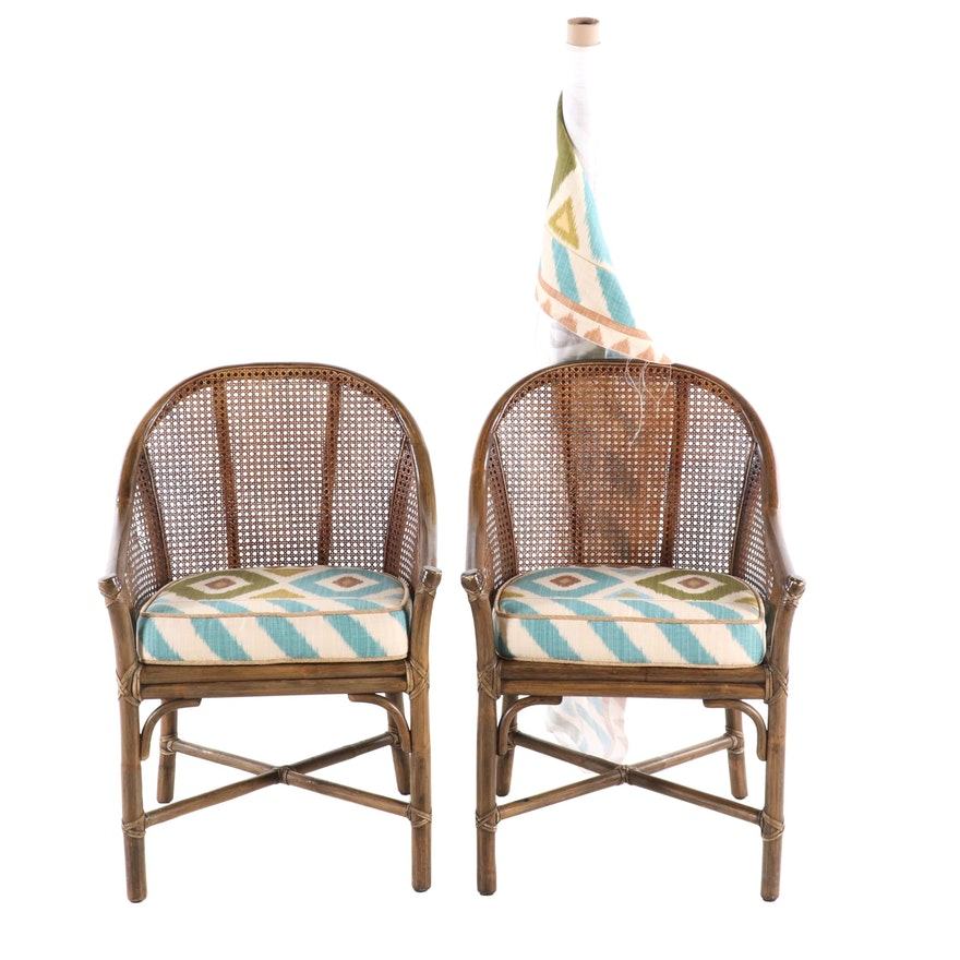 McGuire Rattan Caned Armchairs, 20th Century