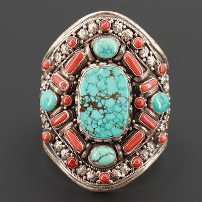 Tibetan Sterling Silver Turquoise and Coral Cuff Bracelet