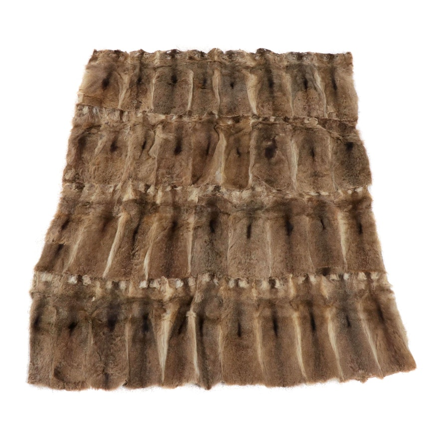 Pieced Animal Hide Area Rug, Possibly Nutria