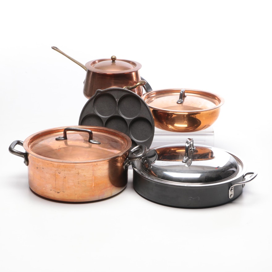 Copper Cookware by Bourgeat and Calphalon Skillet
