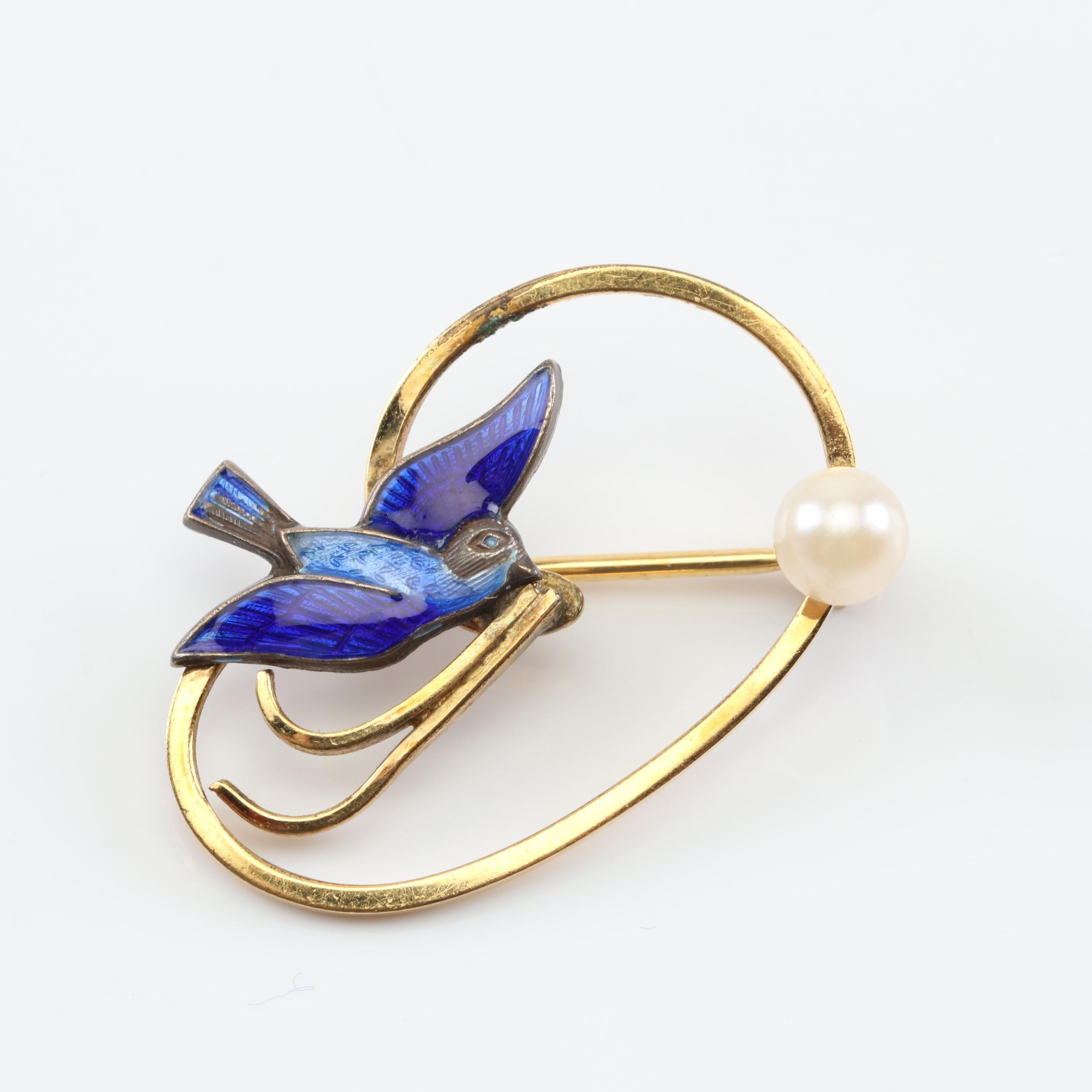 Gold Tone Cultured Pearl and Enamel Bird Brooch