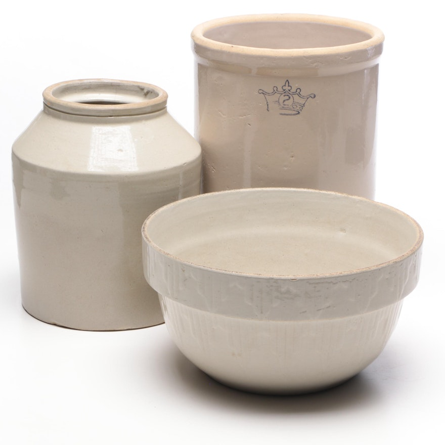 Robinson Ransbottom Two Gallon Stoneware Crock with Other Stoneware