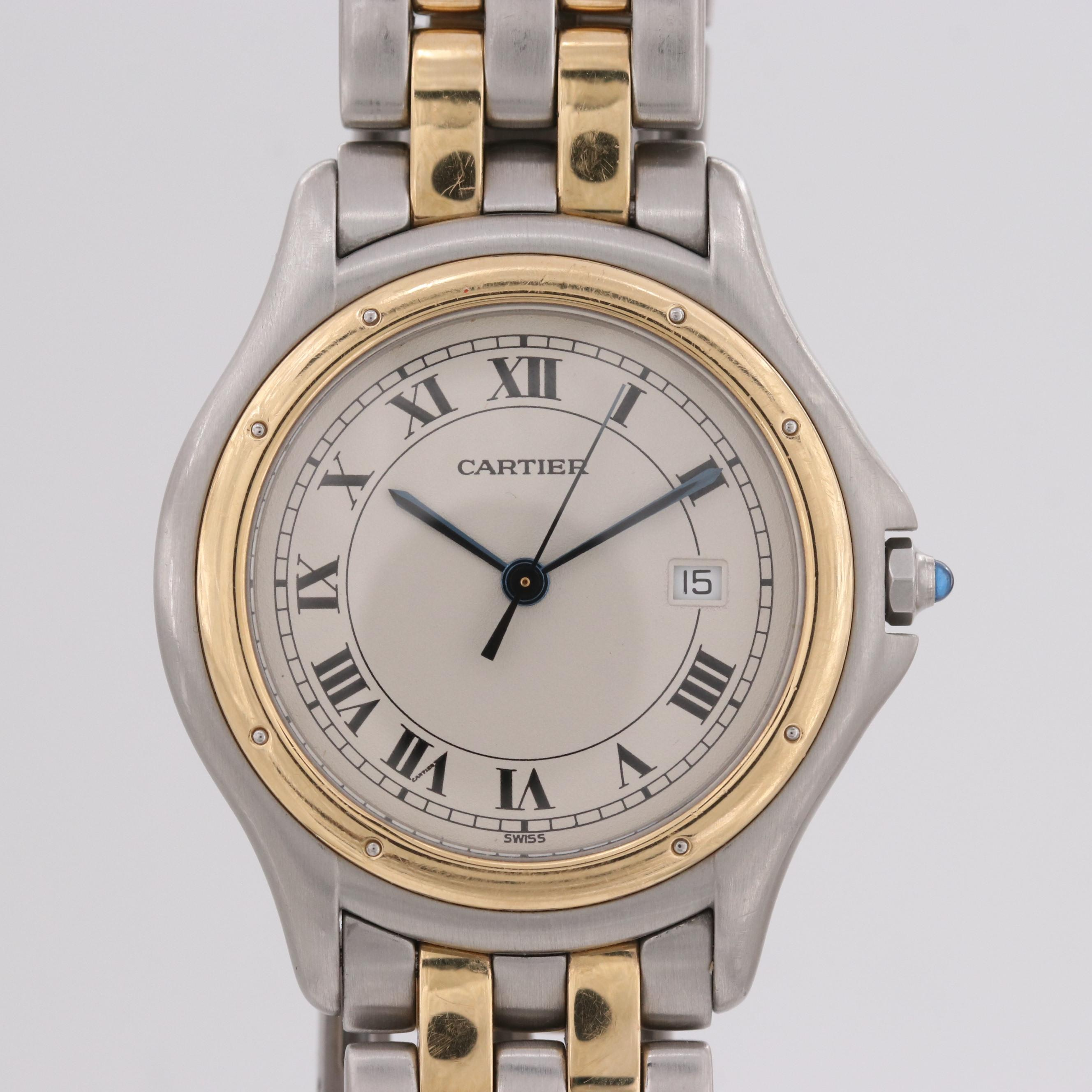 Cartier Cougar Panthere 18K Yellow Gold and Stainless Steel Wristwatch